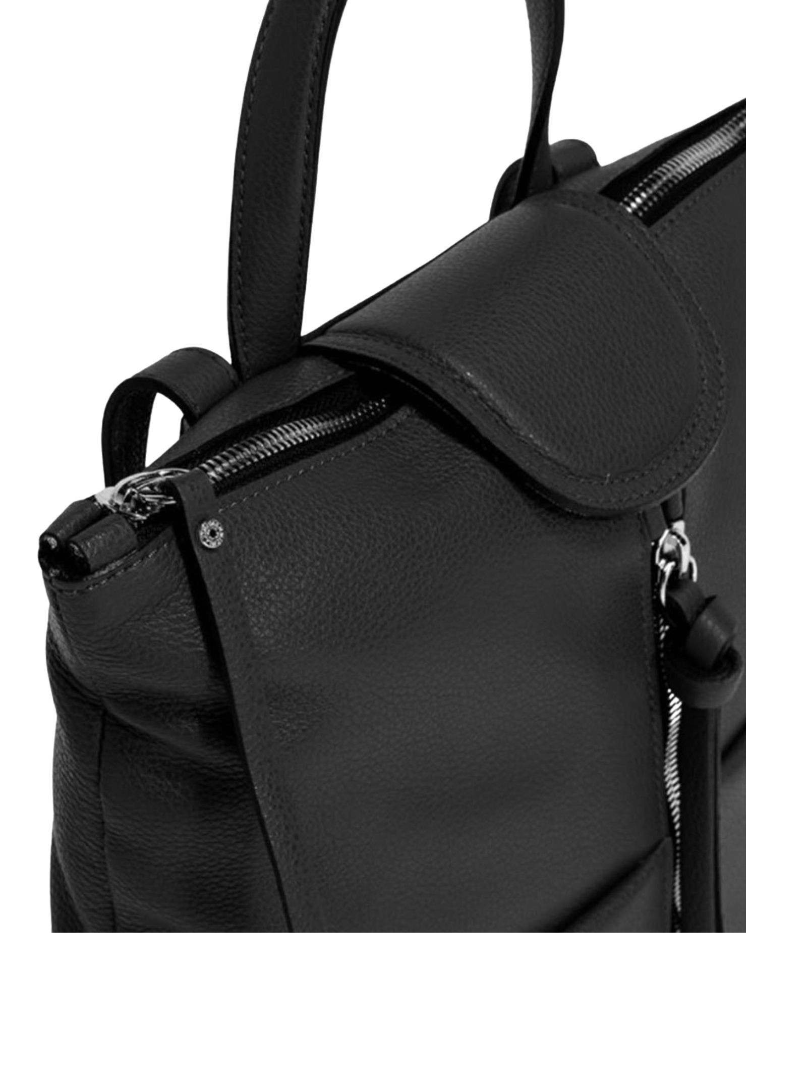 Jade Woman Backpack with Central Zipper In Black Leather With Leather Handle And Adjustable Straps Gianni Chiarini | Bags and backpacks | ZN7040001