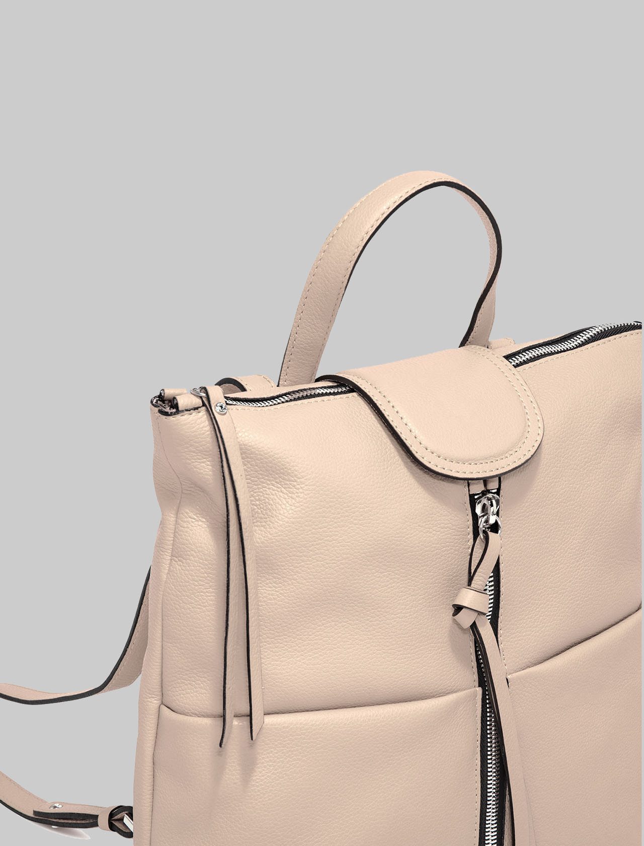 Giada Woman Backpack with Central Zipper In Beige Leather With Leather Handle And Adjustable Straps Gianni Chiarini | Bags and backpacks | ZN704011706