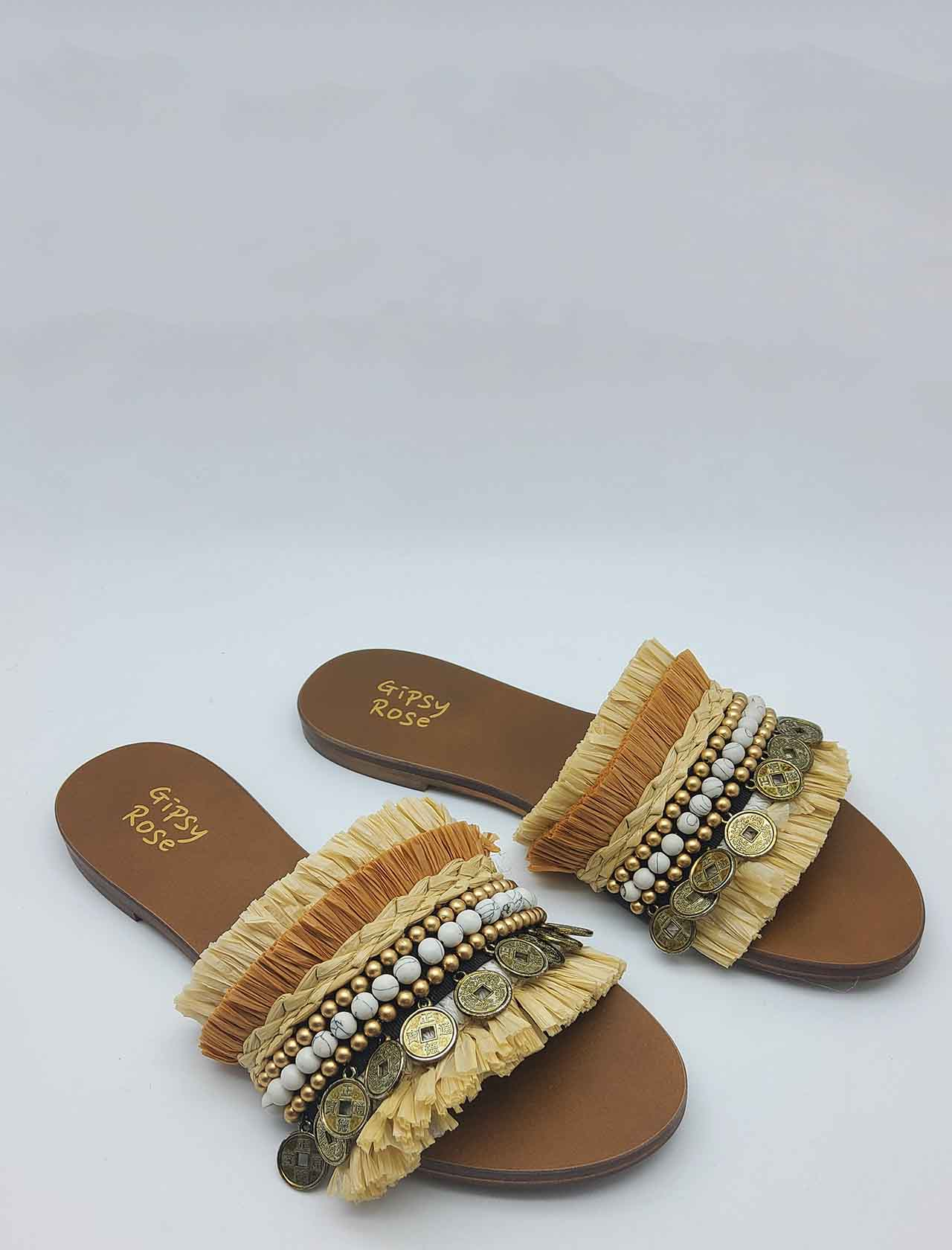 Women's Shoes Flat Sandals in Natural Multicolor Fabric with Fringes and Accessories Gipsy Rose | Flat sandals | STRIBE014