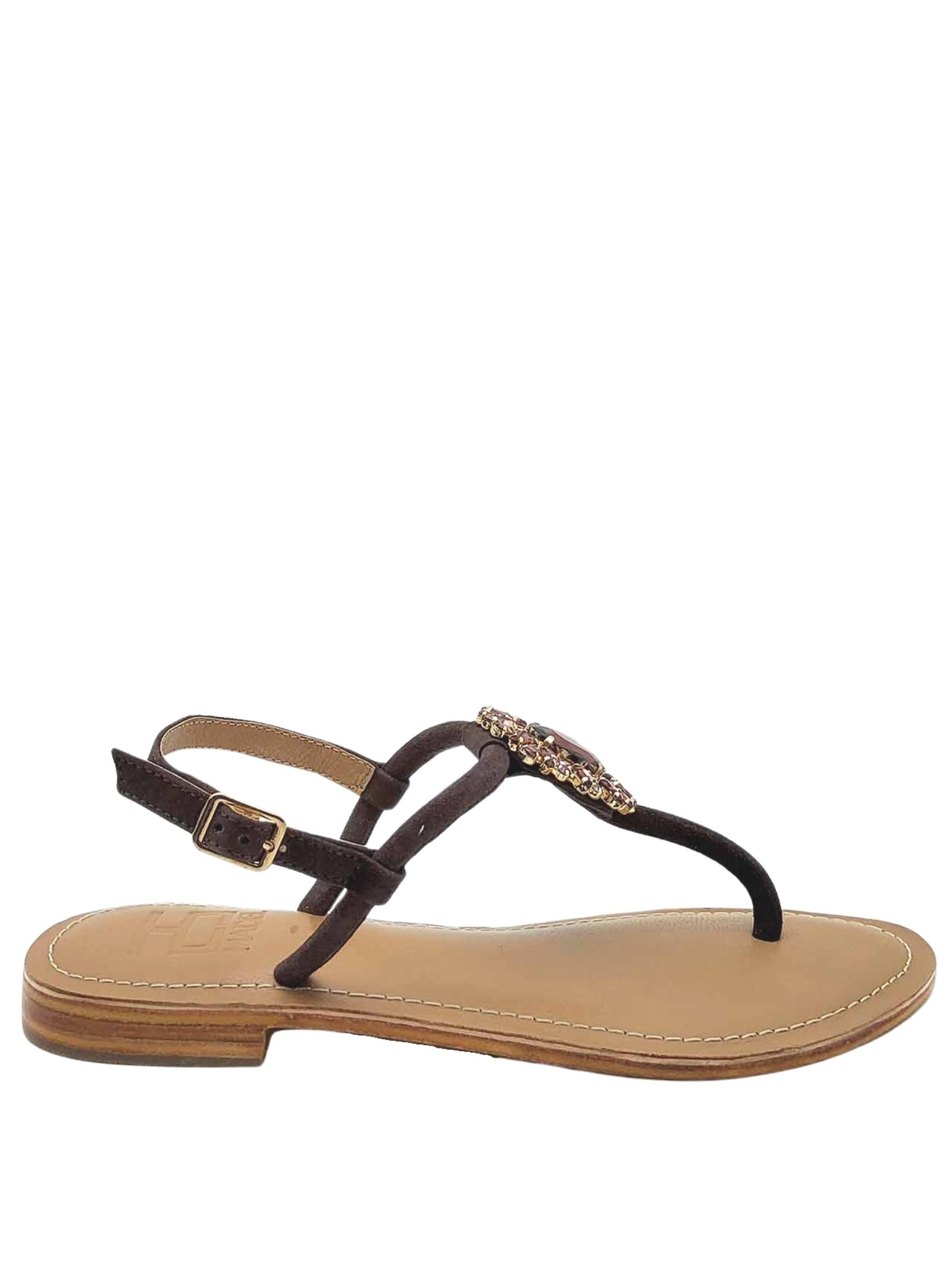 Women's Shoes Sandals Flip Flops in Brown Suede with Jewel Accessory and Strap Hadel   Flat sandals   1SA447013
