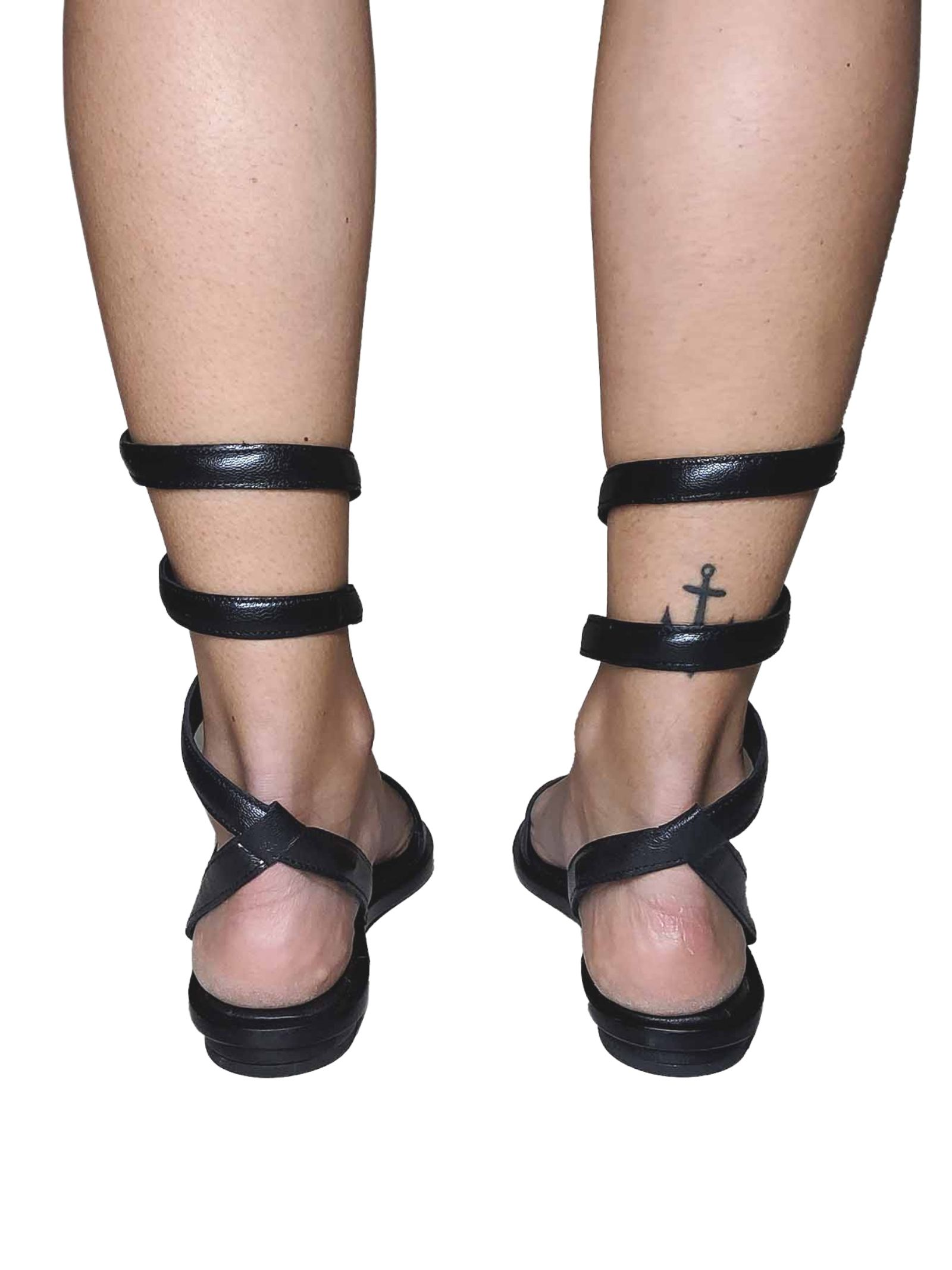 Women's Shoes Flat Sandals in Black Leather with Snake Ankle Strap Hadel | Flat sandals | 1SA526001