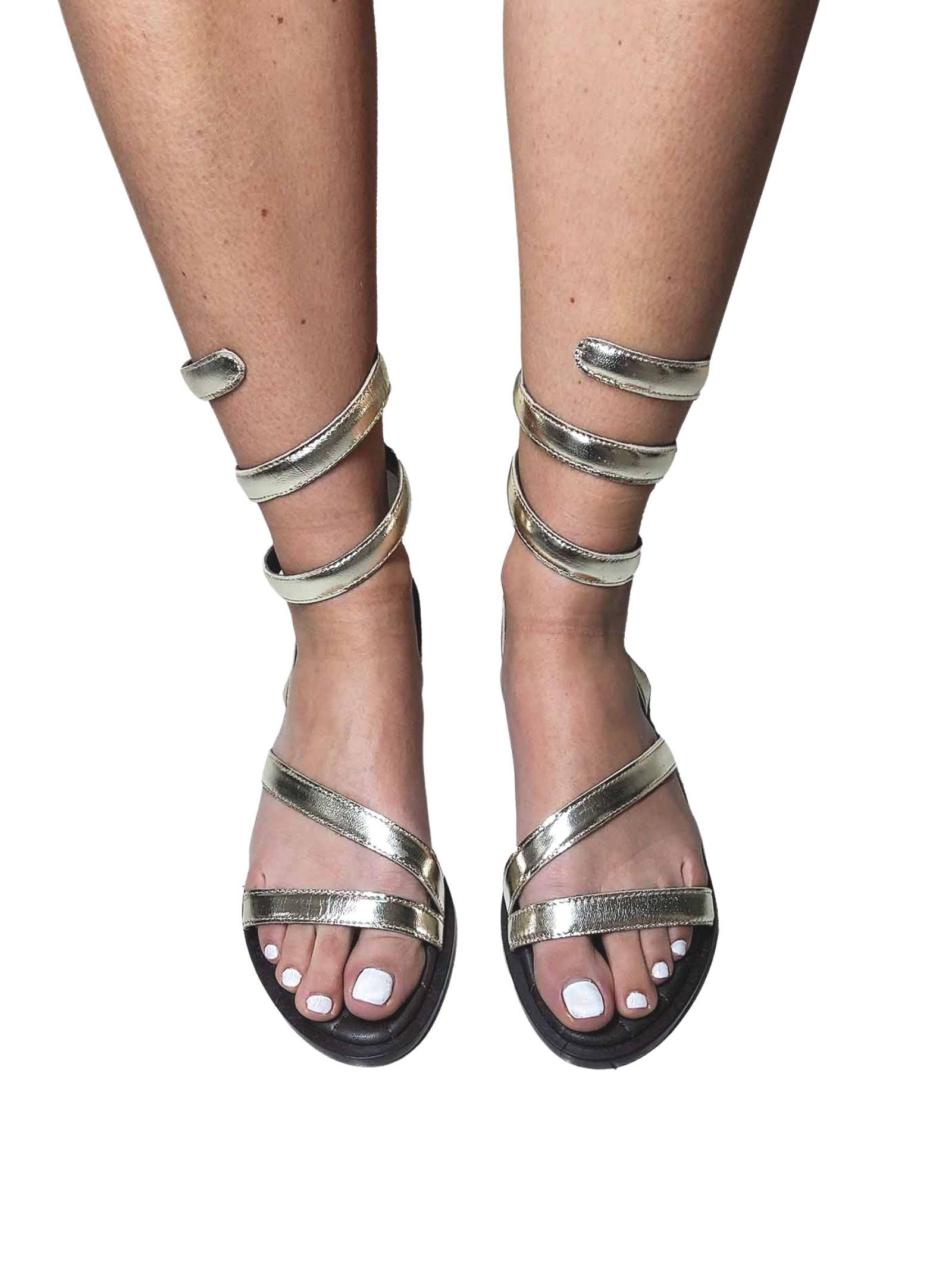 Women's Shoes Flat Sandals in Platinum Leather with Snake Ankle Strap Hadel | Flat sandals | 1SA526600