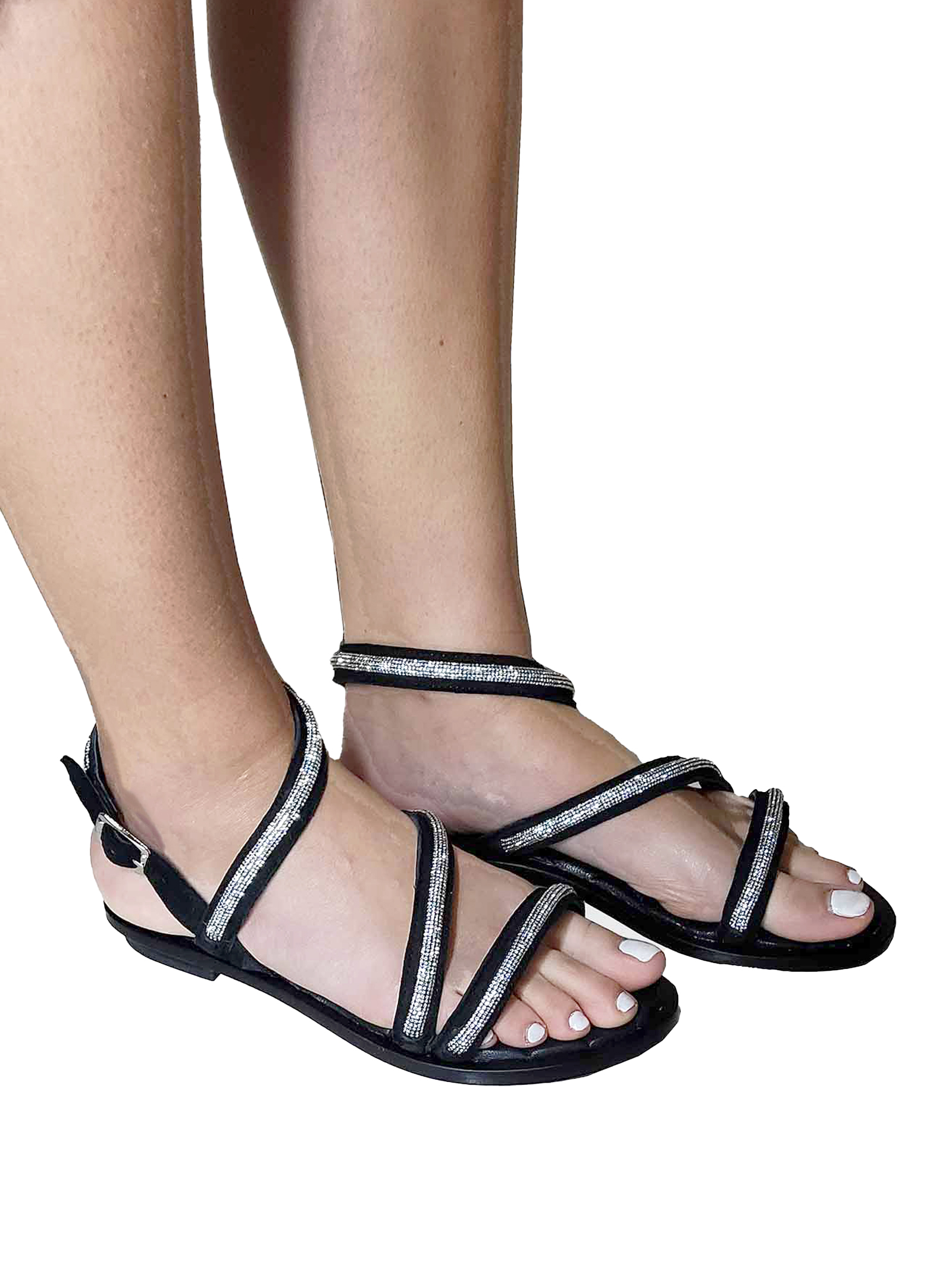 Women's Shoes Flat Sandals in Black Suede with Strass Straps and Ankle Strap Hadel   Flat sandals   1SA539001