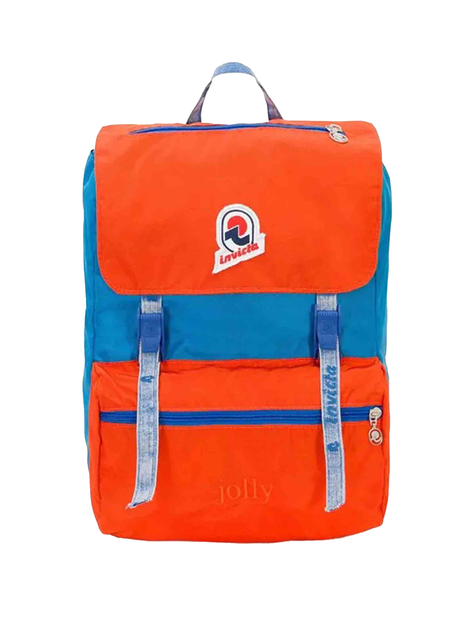 Unisex Icon Collection Jolly Vintage Blue and Orange Backpack with Padded Back and Logoed Shoulder Straps 206001024 Invicta   Bags and backpacks   JOLLYVINTAGEB37
