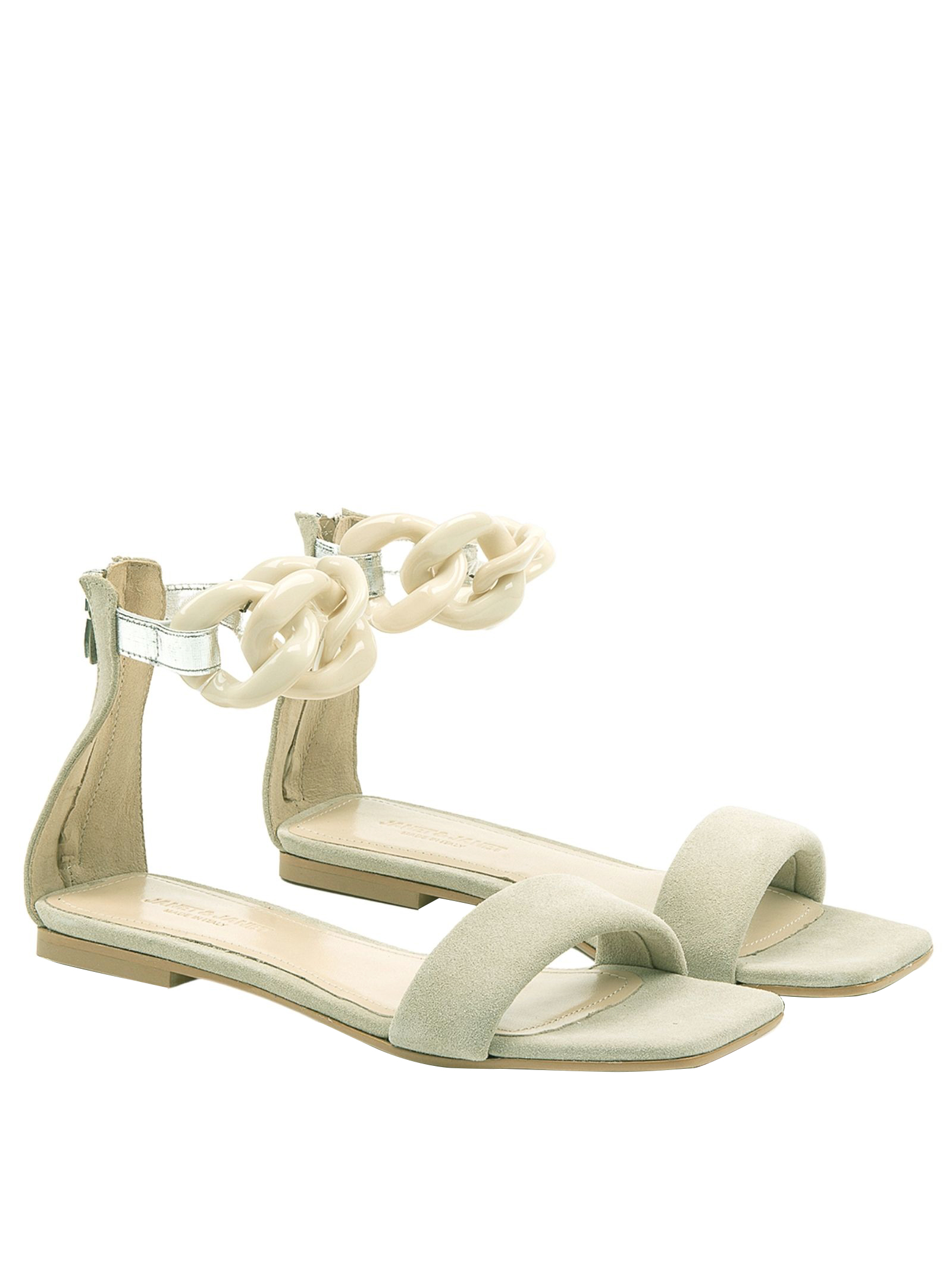 Women's Shoes Low Sandals in Ivory Suede Low with Chain Anklet Janet & Janet | Flat sandals | 01103015