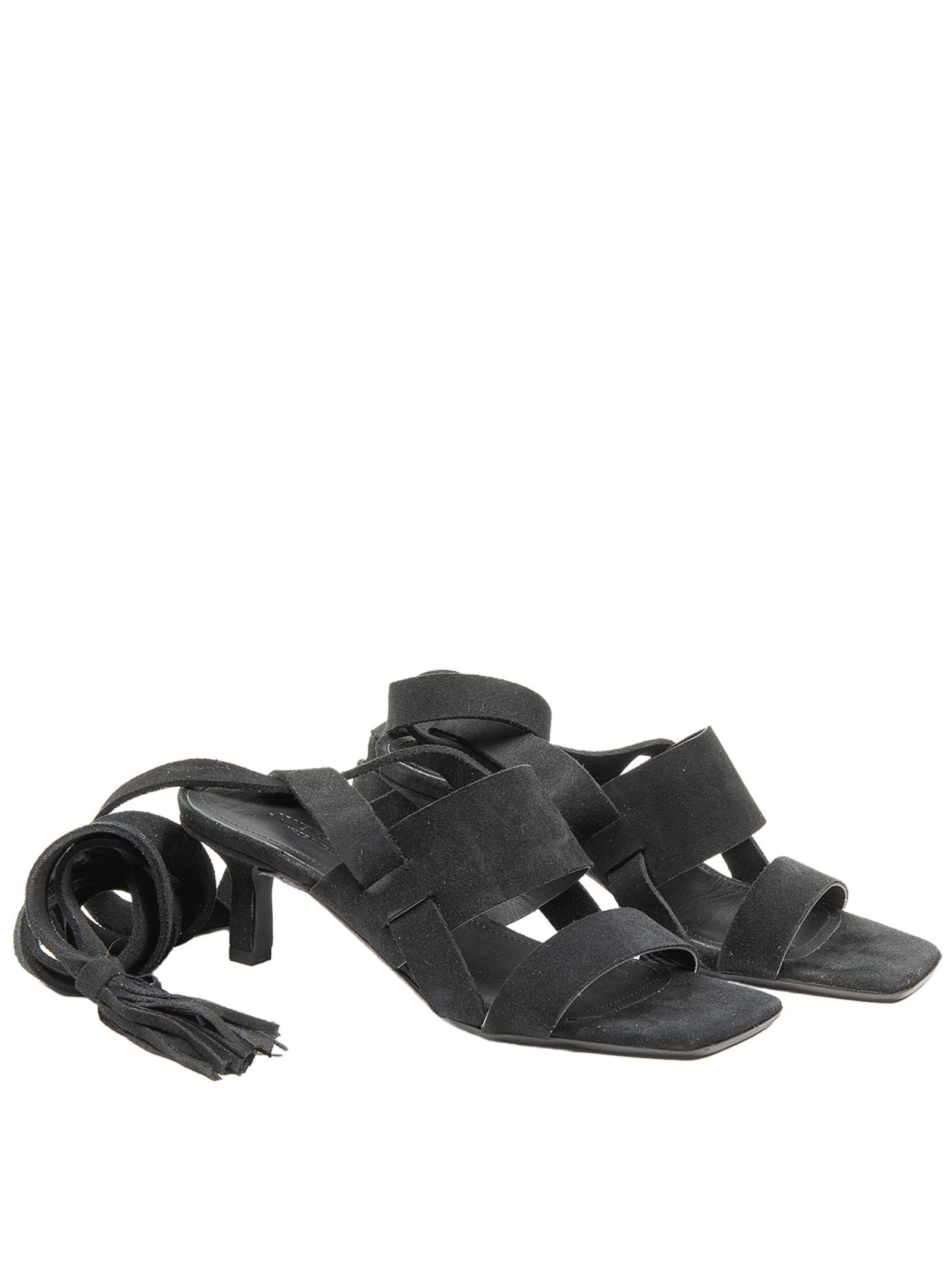 Calzature Donna Sandali in Camoscio Nero con Doppia Fascia e Lacci alla Caviglia Janet & Janet   Sandali   01151001