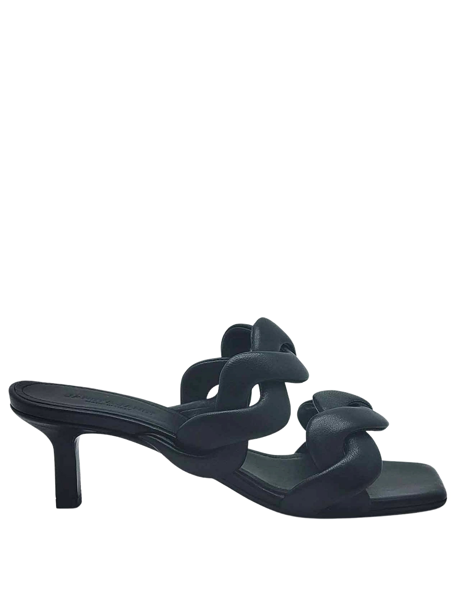 Women's Shoes Sandals in Black Leather with Double Braided Band Heel 60 Janet & Janet | Sandals | 01153001