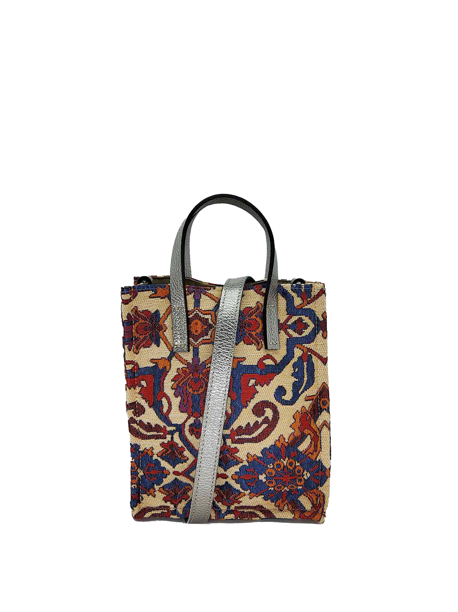 Women's Small Shoulder Bags in Cream Jacquard Patterned Fabric with Double Handle and Removable Shoulder Strap Kassiopea | Bags and backpacks | MINI UMIL16