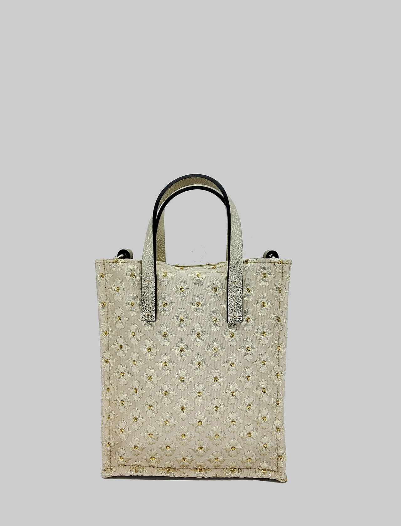 Women's Small Shoulder Bags in Champagne Fabric with Double Handle and Removable Shoulder Strap Kassiopea | Bags and backpacks | MINI UMIL607