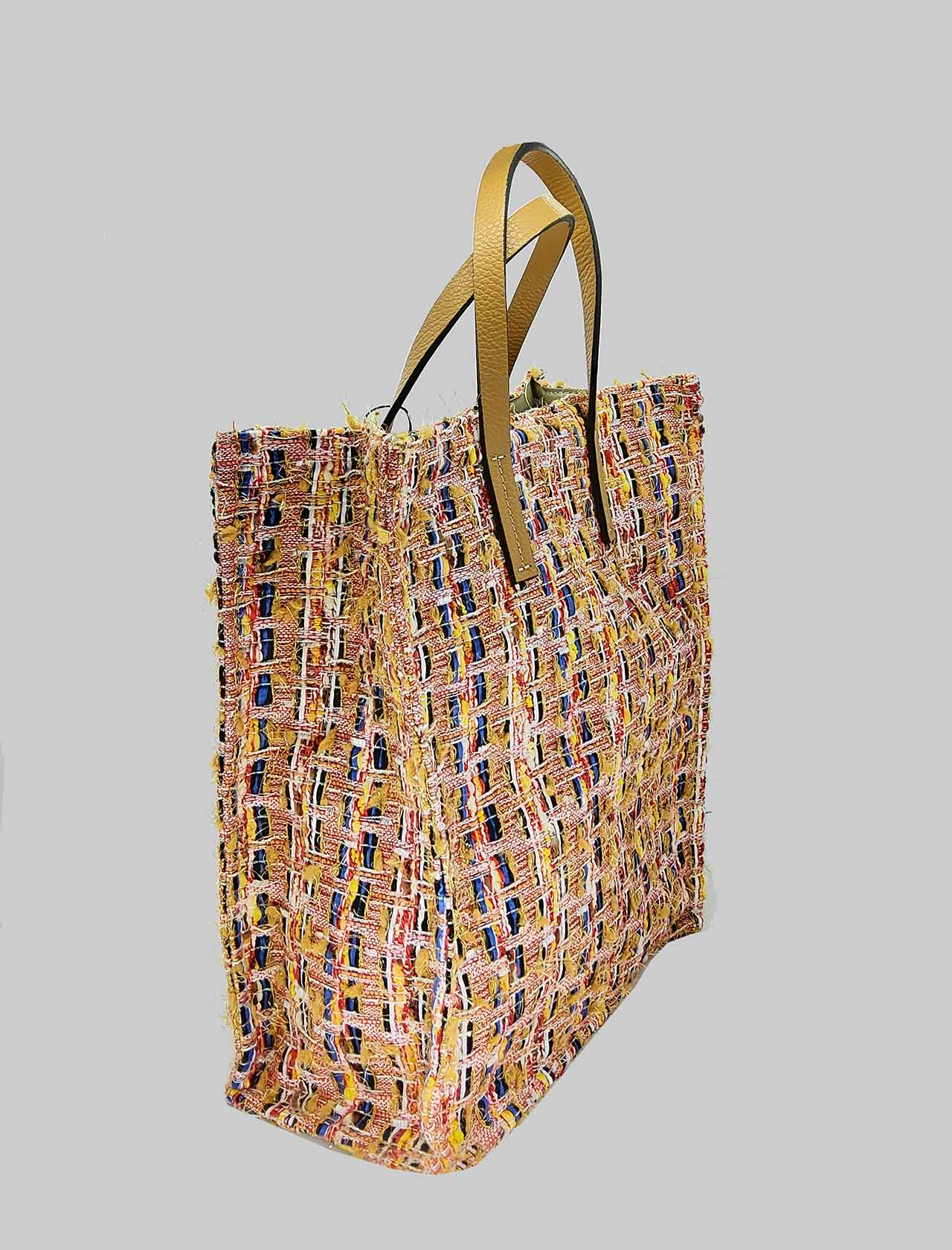 Women's Shopping Bags in Multicolored Peach Fabric with Double Handle Kassiopea | Bags and backpacks | UMIL020