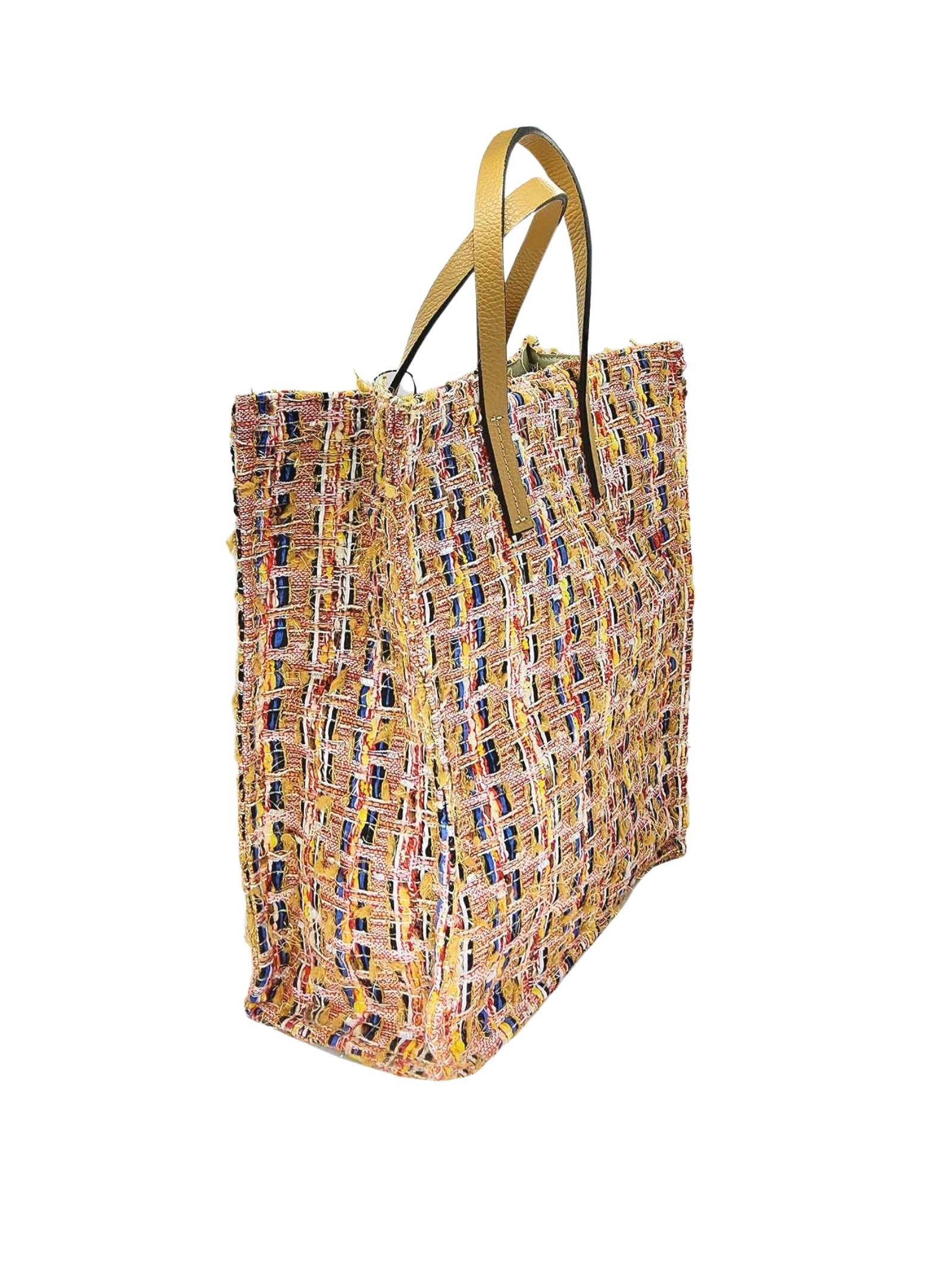Women's Shopping Bags in Multicolored Peach Fabric with Double Handle Kassiopea   Bags and backpacks   UMIL020