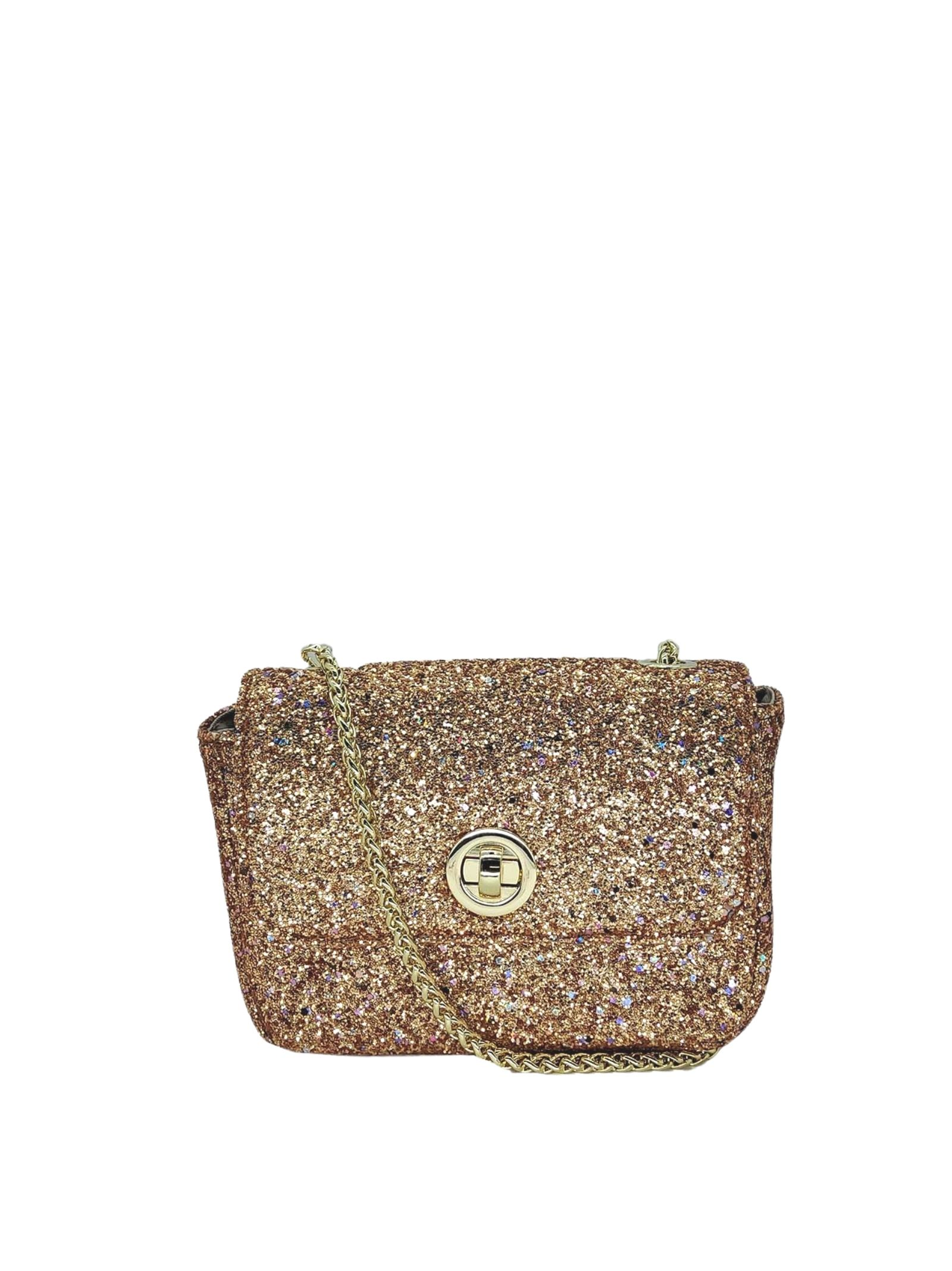 Women's Bags Clutch Bag in Gold Glitter Fabric with Gold Chain Kassiopea   Bags and backpacks   URIEL602