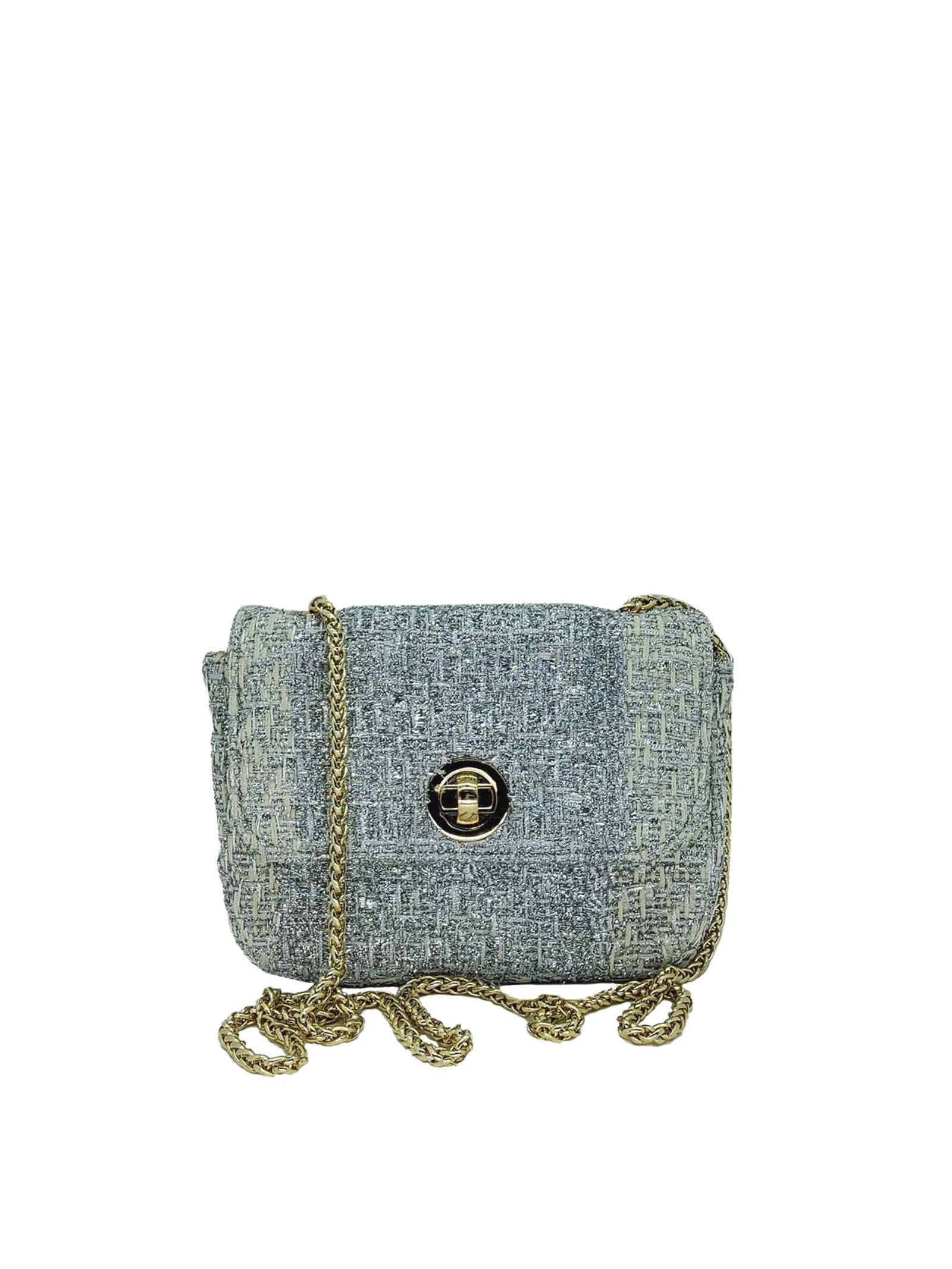 Women's Bags Clutch Bag in Silver Fabric with Gold Chain Kassiopea   Bags and backpacks   URIEL604
