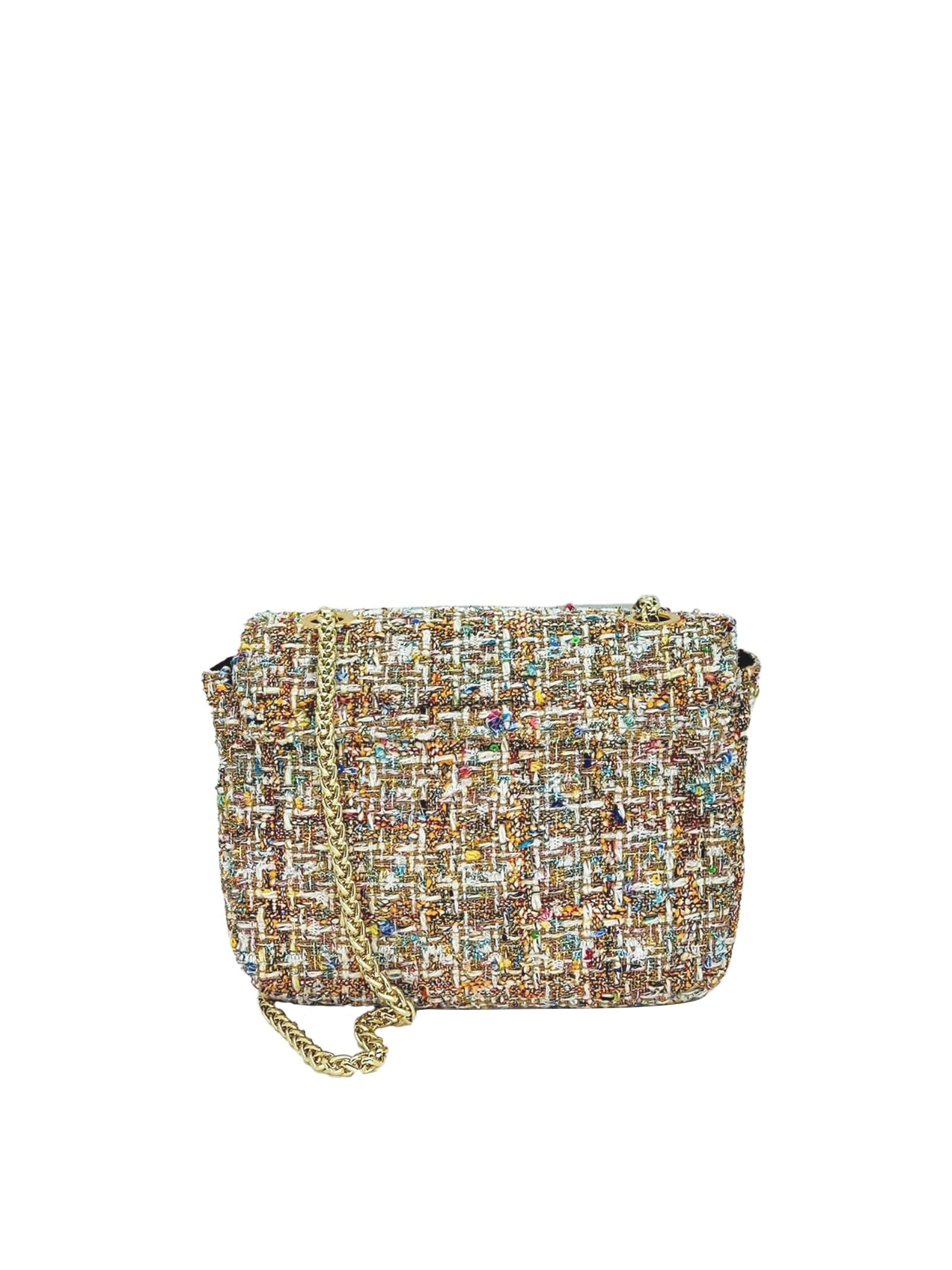 Women's Bags Clutch Bag in Champagne Fabric with Gold Chain Kassiopea | Bags and backpacks | URIEL607