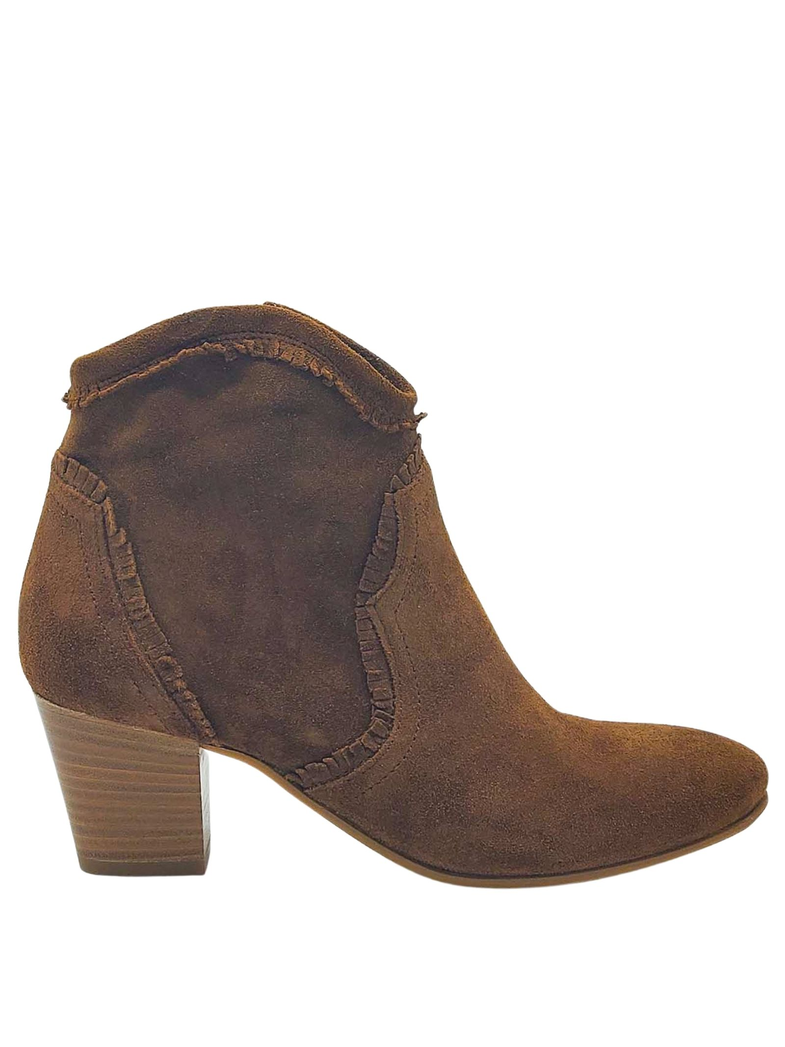 Women's Shoes Brown Suede Ankle Boots Round Toe and Heel 50 Lamica | Ankle Boots | LESMA012
