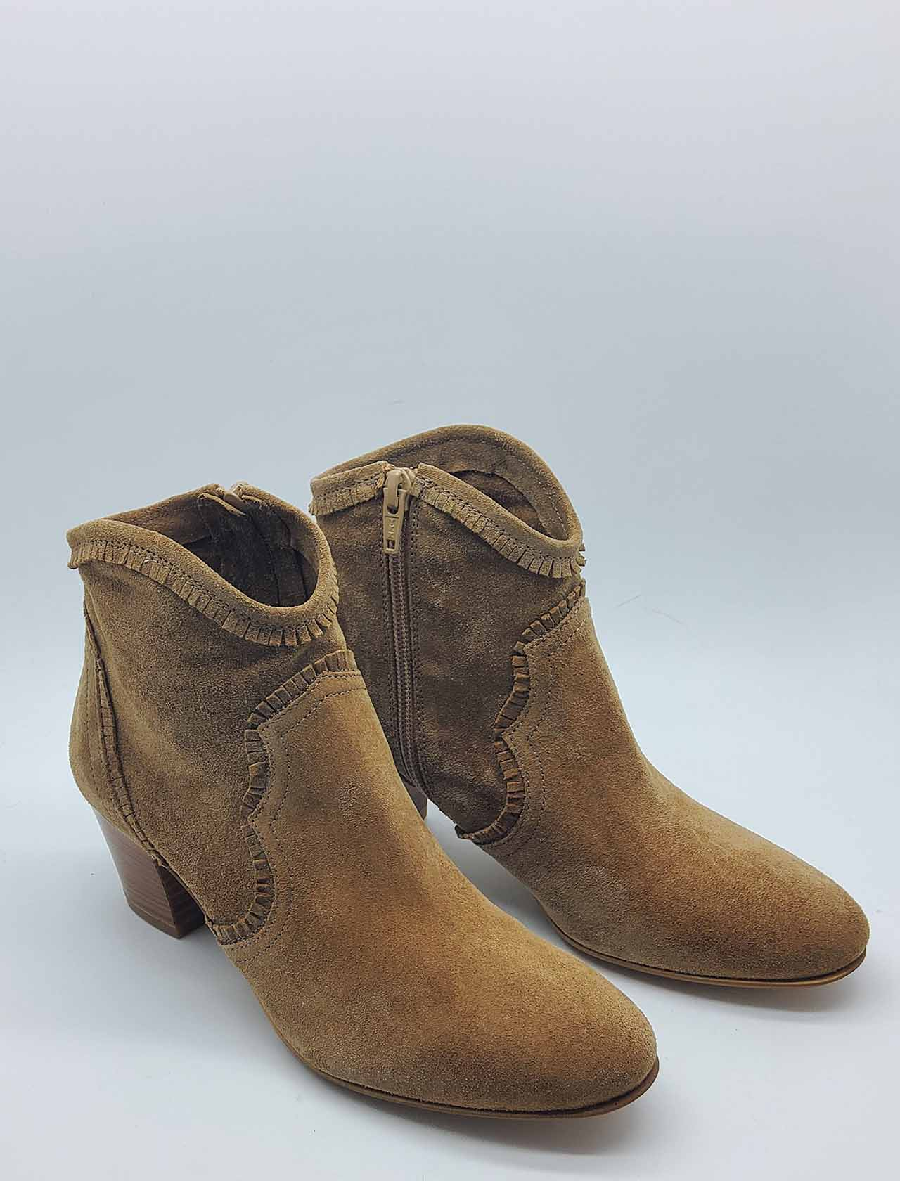 Women's Shoes Ankle Boots in Leather Suede Round Toe and Heel 50 Lamica | Ankle Boots | LESMA302