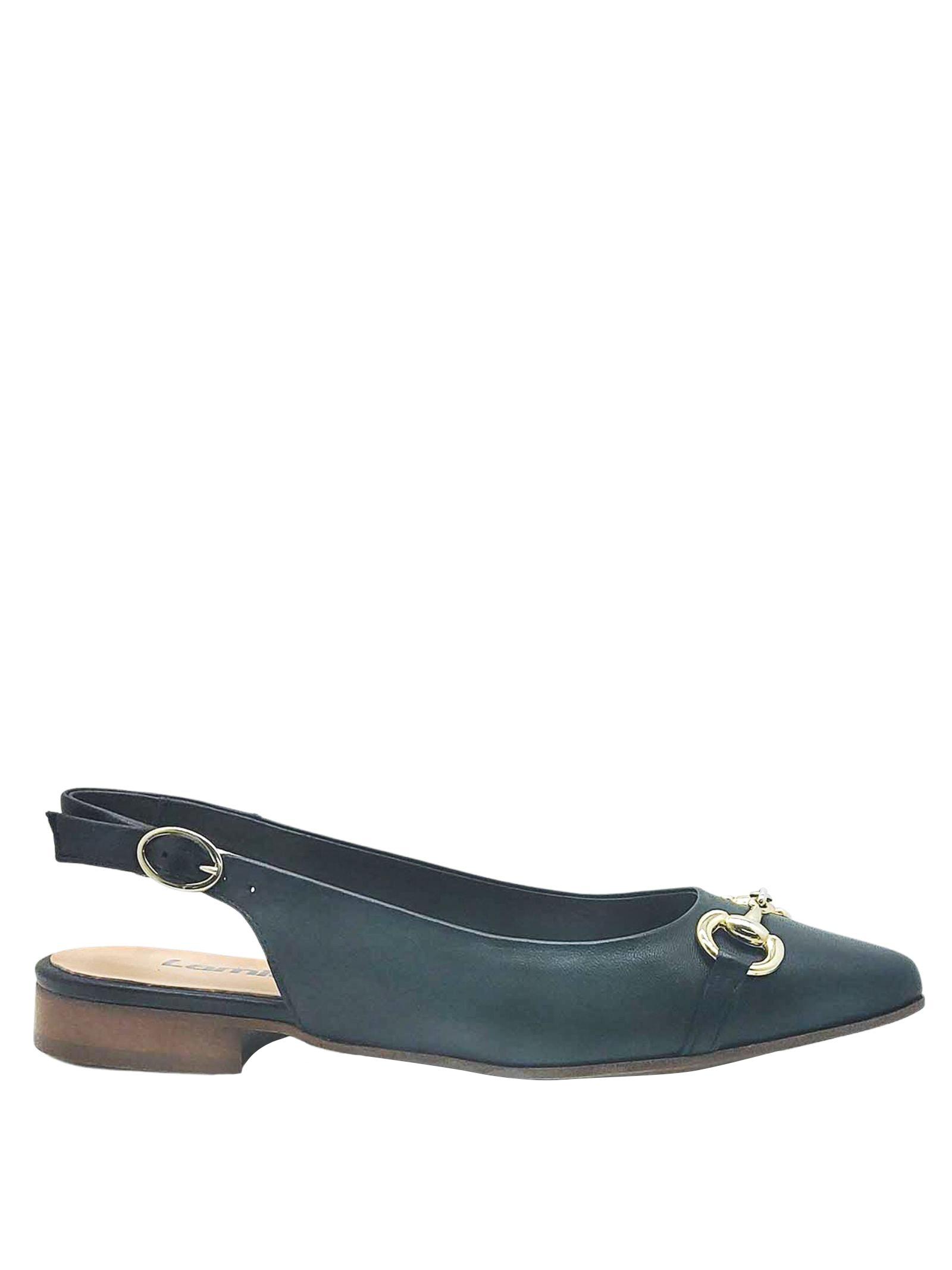 Calzature Donna Chanel in Pelle Nera con Morsetto in Oro e Tacco Basso Lamica | Décolleté | SINTA001