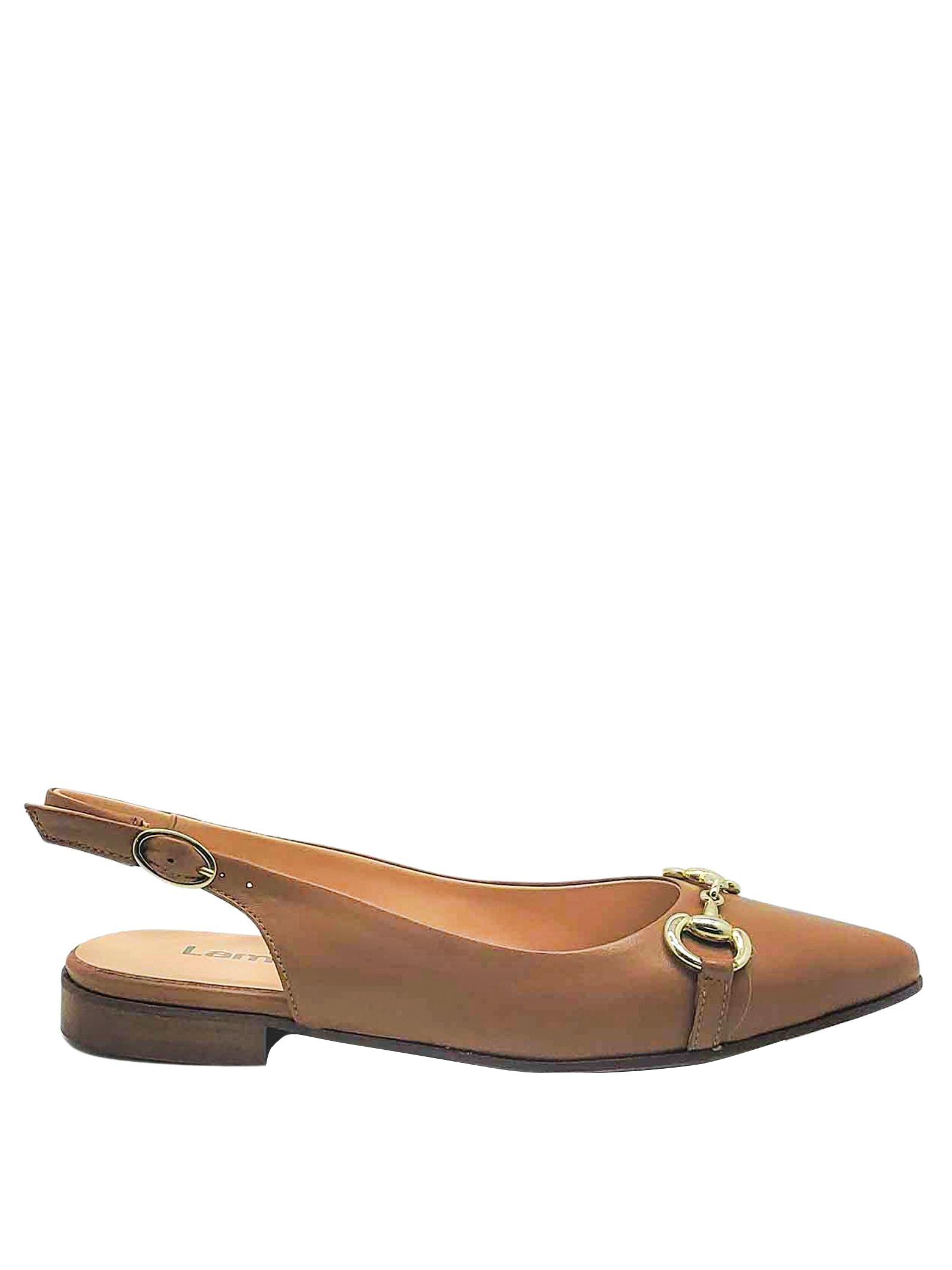 Calzature Donna Chanel in Pelle Cuoio con Morsetto in Oro e Tacco Basso Lamica | Décolleté | SINTA014