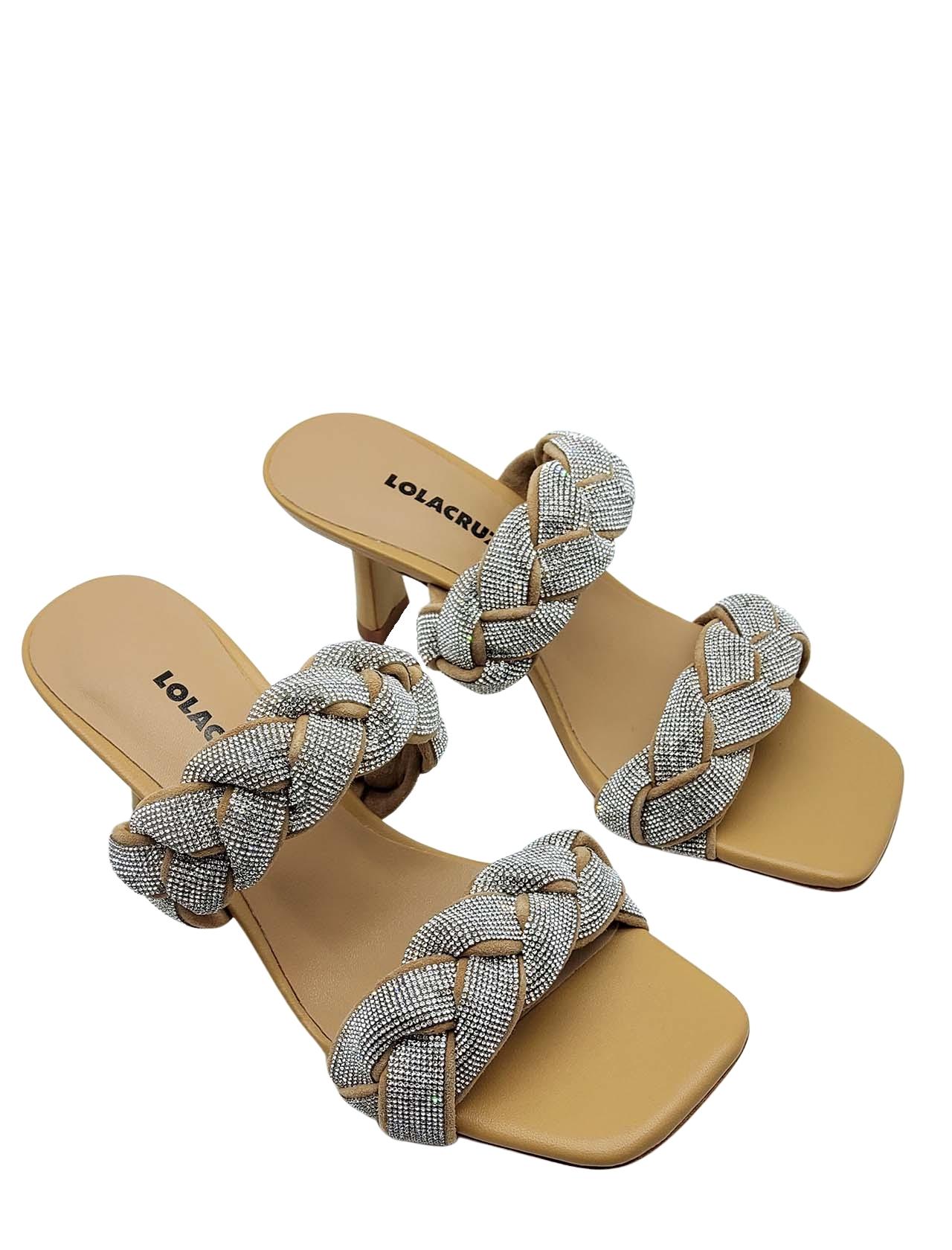 Calzature Donna Sandalo in Pelle Camel con Doppia Treccia di Strass e Punta Quadra Lola Cruz | Sandali | 051Z00BK026