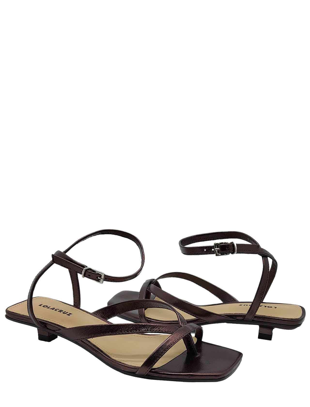 Women's Shoes Thong Sandal in Dark Brown Leather with Strap and Square Toe Lola Cruz   Sandals   078Z23BK012