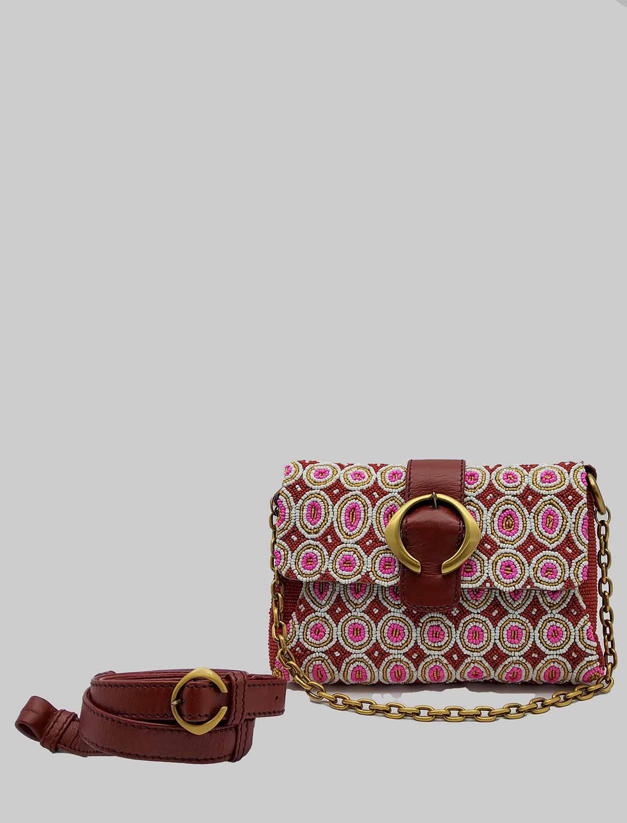Women's Small Shoulder Bag Tribal Dance in Leather and Pink and Gold Beads with Chain and Adjustable and Removable Leather Shoulder Strap Maliparmi | Bags and backpacks | BD006490791B3221
