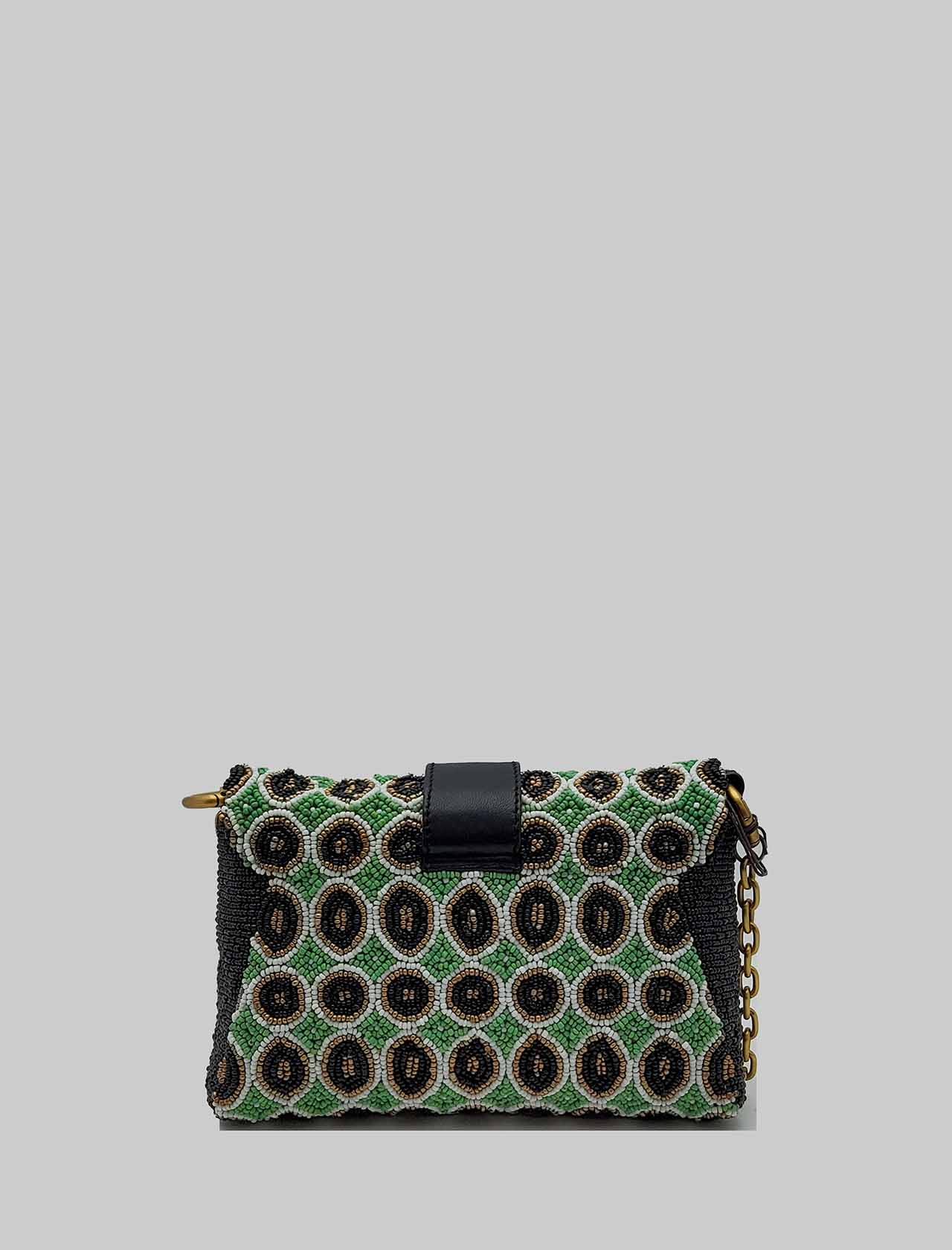 Women's Small Shoulder Bag Tribal Dance in Green and Gold Leather and Beads with Chain and Adjustable and Removable Leather Shoulder Strap Maliparmi | Bags and backpacks | BD006490791C6020