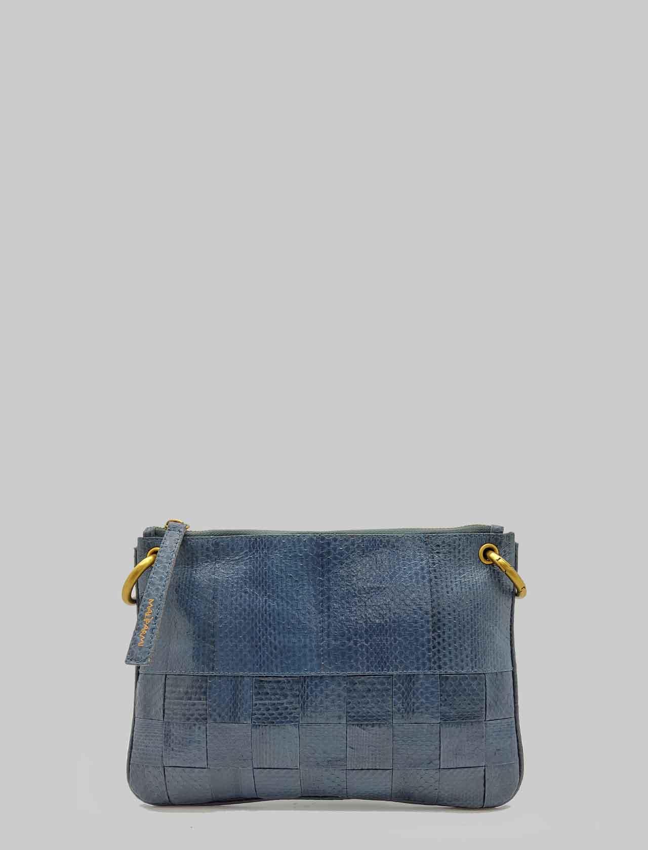 Borsa Donna Tracolla Piccola Exotic Woven in Wips Blu con Tracolla Removibile in Tinta Maliparmi | Borse e zaini | BD00670143680002