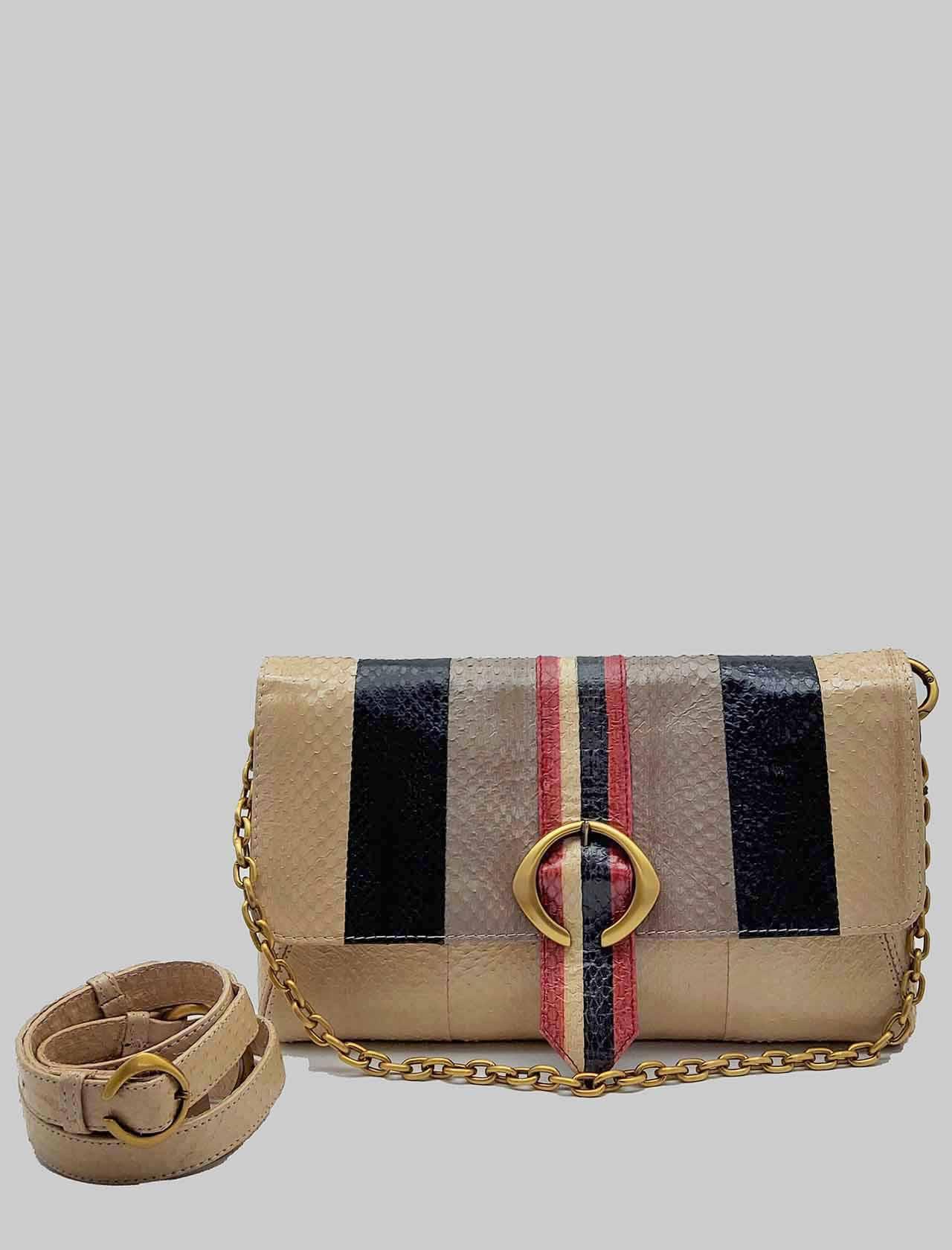 Borsa Donna Tracolla Media Exotic Stripes in Wips Naturale Multicolore con Catena in Oro e Tracolla Removibile e Regolabile in Pelle Maliparmi   Borse e zaini   BE00120142411B99