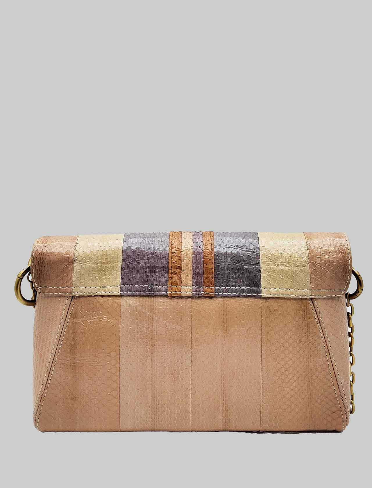 Woman Shoulder Bag Medium Exotic Stripes in Multicolored Pink Wips with Gold Chain and Removable and Adjustable Leather Shoulder Strap Maliparmi | Bags and backpacks | BE00120142432B99