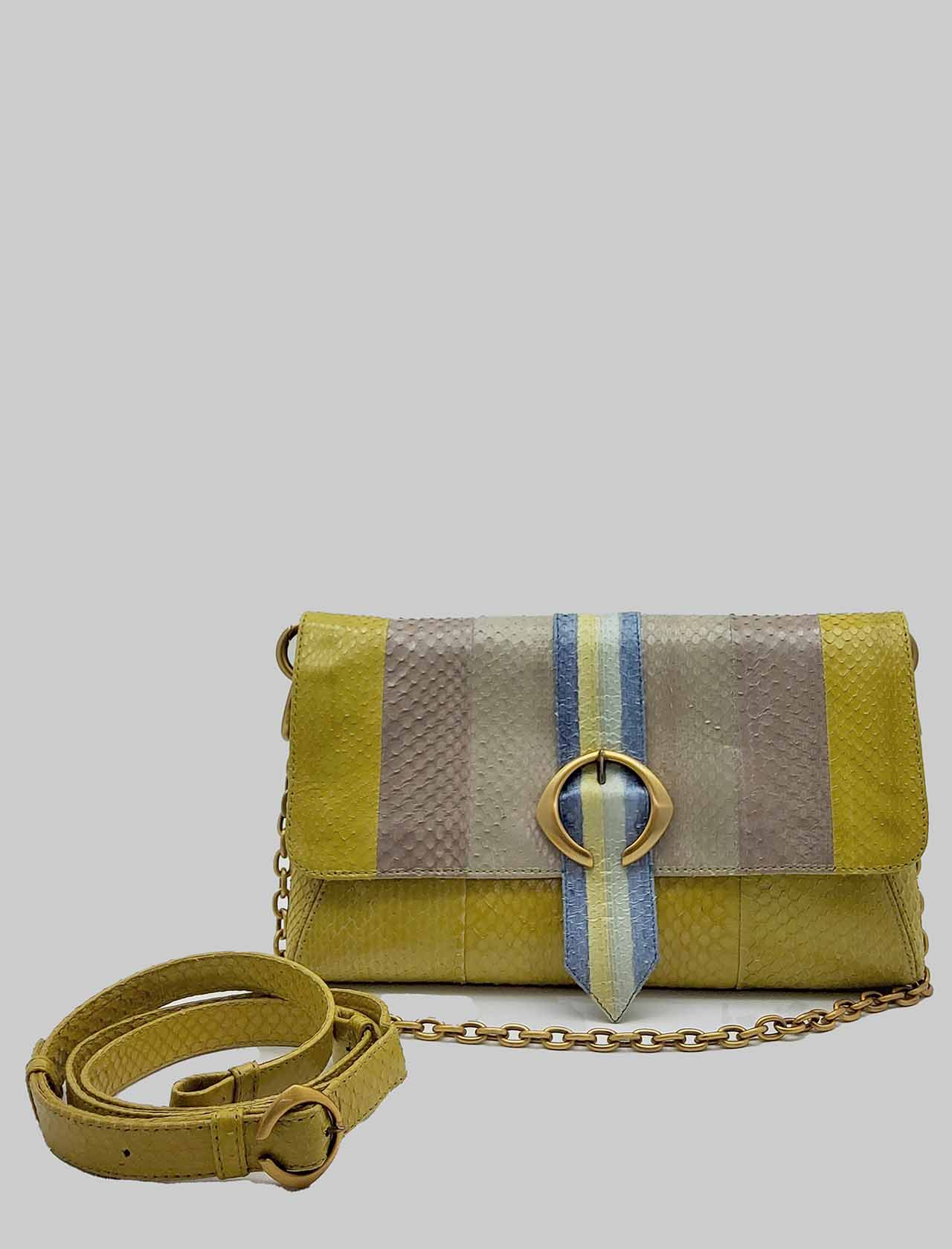 Woman Medium Shoulder Bag Exotic Stripes in Blue and Green Multicolor Wips with Gold Chain and Removable and Adjustable Leather Shoulder Strap Maliparmi | Bags and backpacks | BE00120142480B99