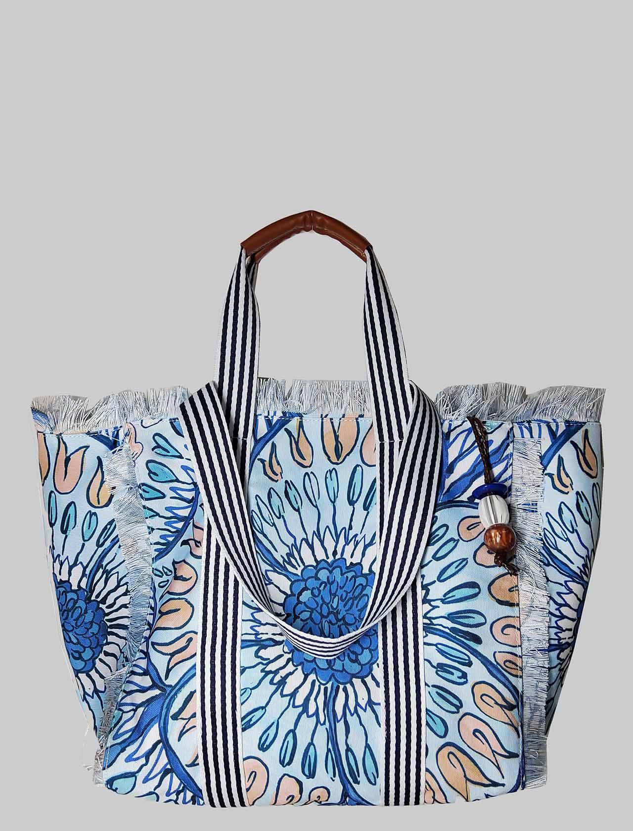Borsa Donna Shopping Summer Breakfast in Cotone Fantasia Azzurro e Blu Maliparmi | Borse e zaini | BH026010134A8146