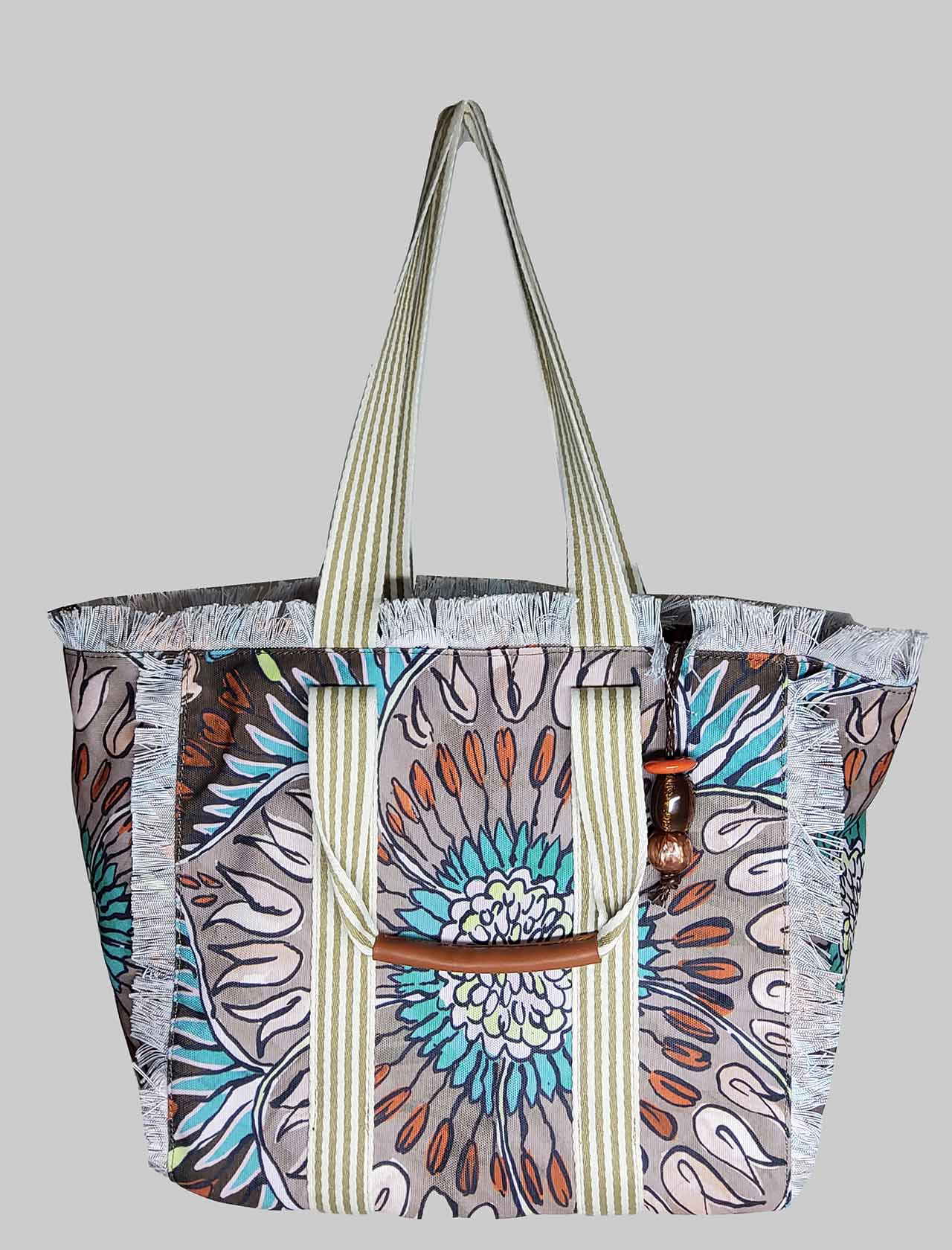 Women's Summer Breakfast Shopping Bag in Brown and Taupe Patterned Cotton Maliparmi | Bags and backpacks | BH026010134B4067