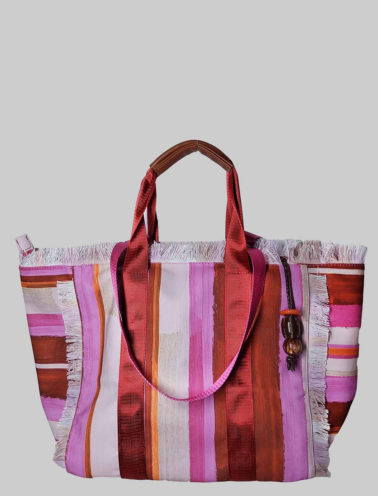 Borsa Donna Shopping Painted Stripes in Cotone a Fantasia Rosa e Rosso Maliparmi | Borse e zaini | BH026010135B3223