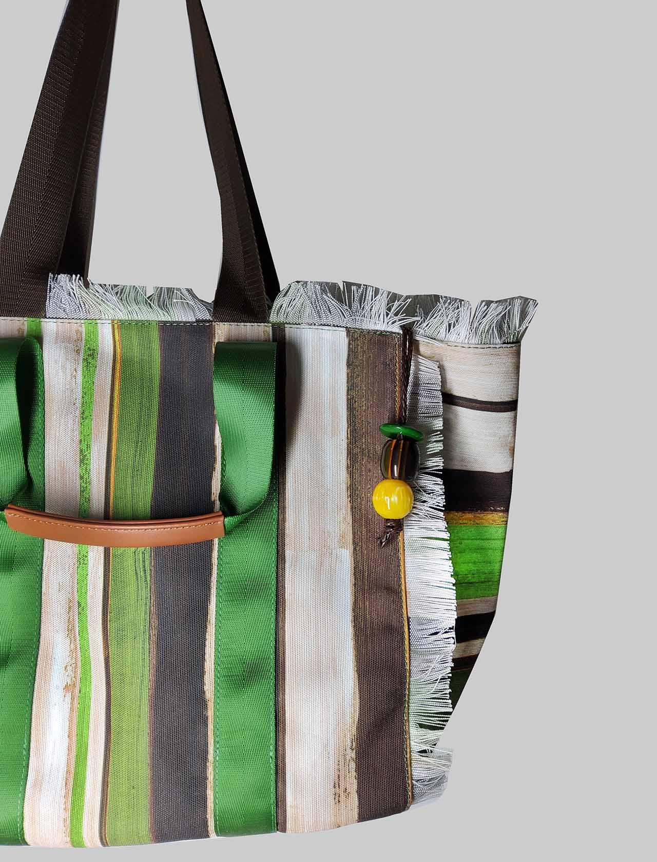 Borsa Donna Shopping Painted Stripes in Cotone a Fantasia Verde e Naturale Maliparmi | Borse e zaini | BH026010135C6022