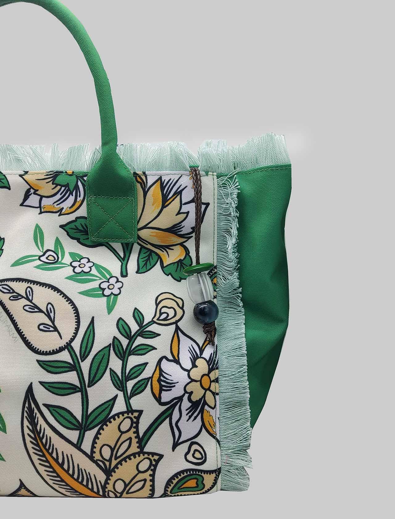 Borsa Donna Shopping Flower Print in Cotone Naturale e Verde Maliparmi | Borse e zaini | BH026060043B1233