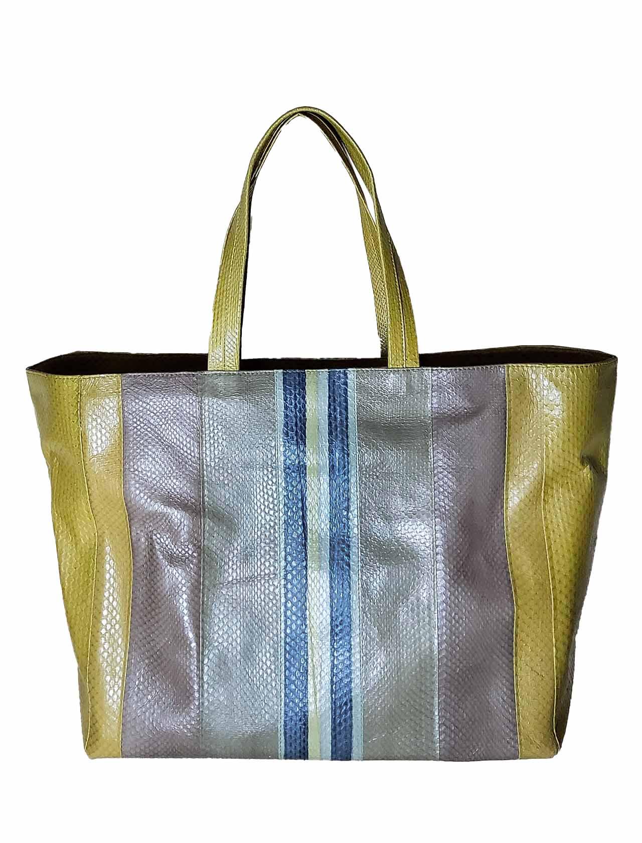 Borsa Donna Shopping Grande Exotic Stripes in Wips Blu e Verde Cedro Multicolore con Manici a Spalla in Tinta Maliparmi | Borse e zaini | BH02620142480B99