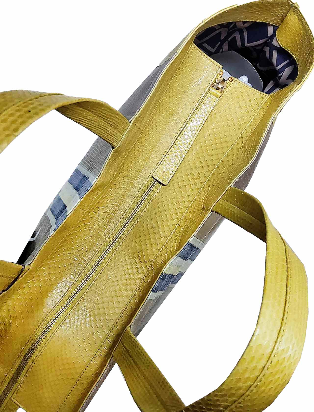 Large Woman Shopping Bag Exotic Stripes in Blue Wips and Multicolored Cedar Green with Shoulder Handles in the Same Color Maliparmi | Bags and backpacks | BH02620142480B99