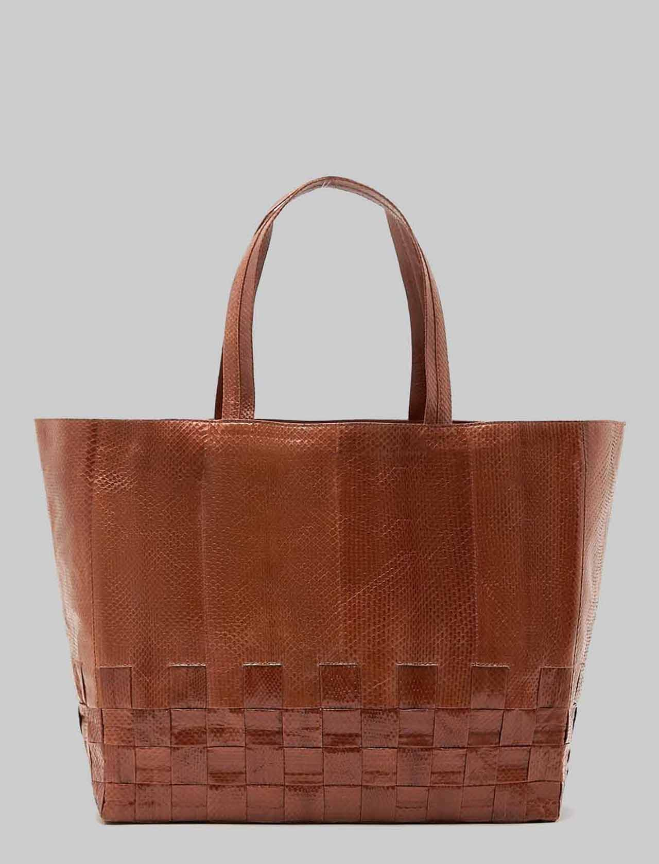 Large Exotic Woven Woman Shopping Bag in Leather Wips with Leather Handles in Tint Maliparmi | Bags and backpacks | BH02620143640008