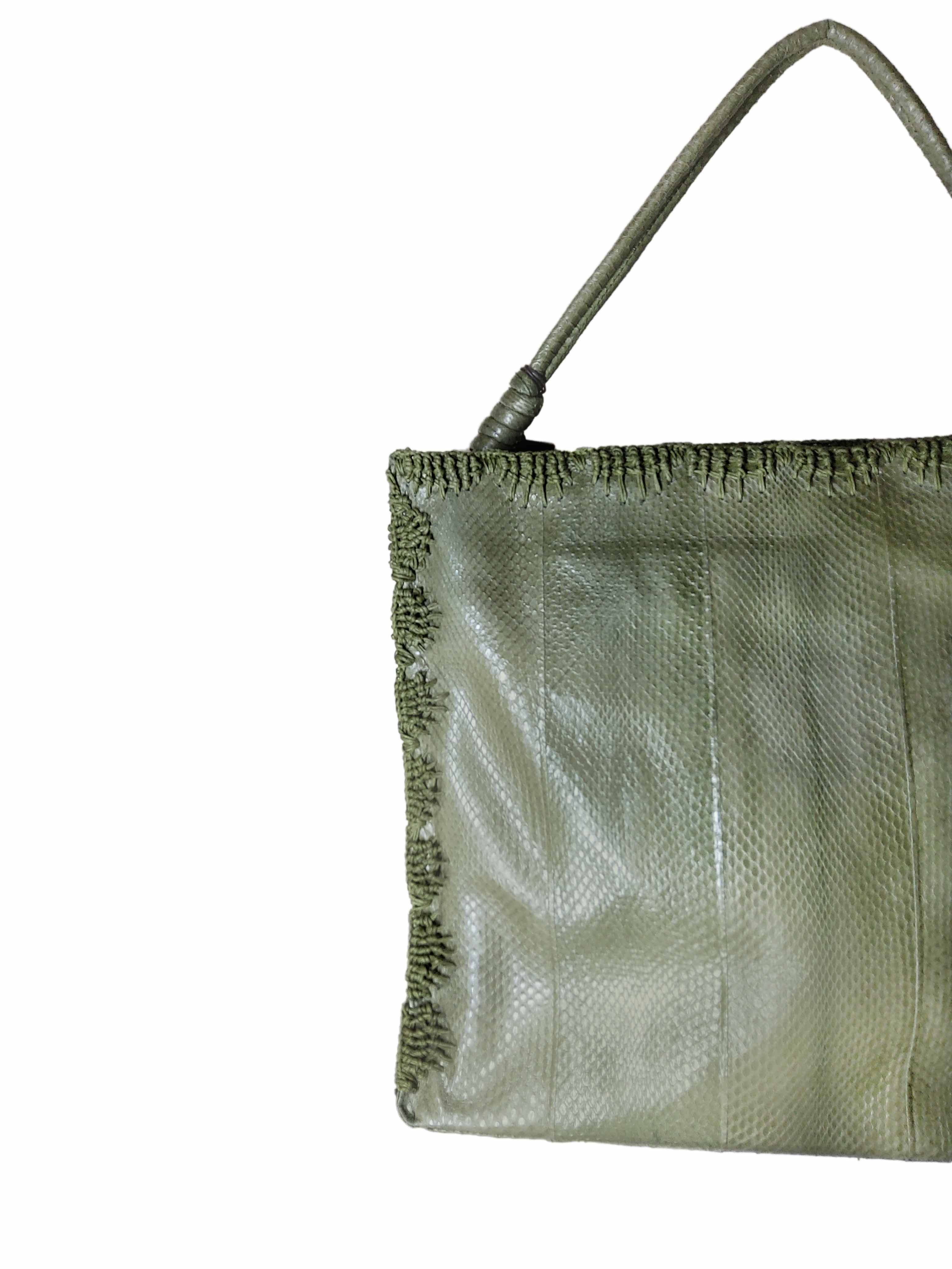 Large Woman Handbag Exotic Crochet in Green Wips with Matching Stitching Maliparmi | Bags and backpacks | BI00220143860010