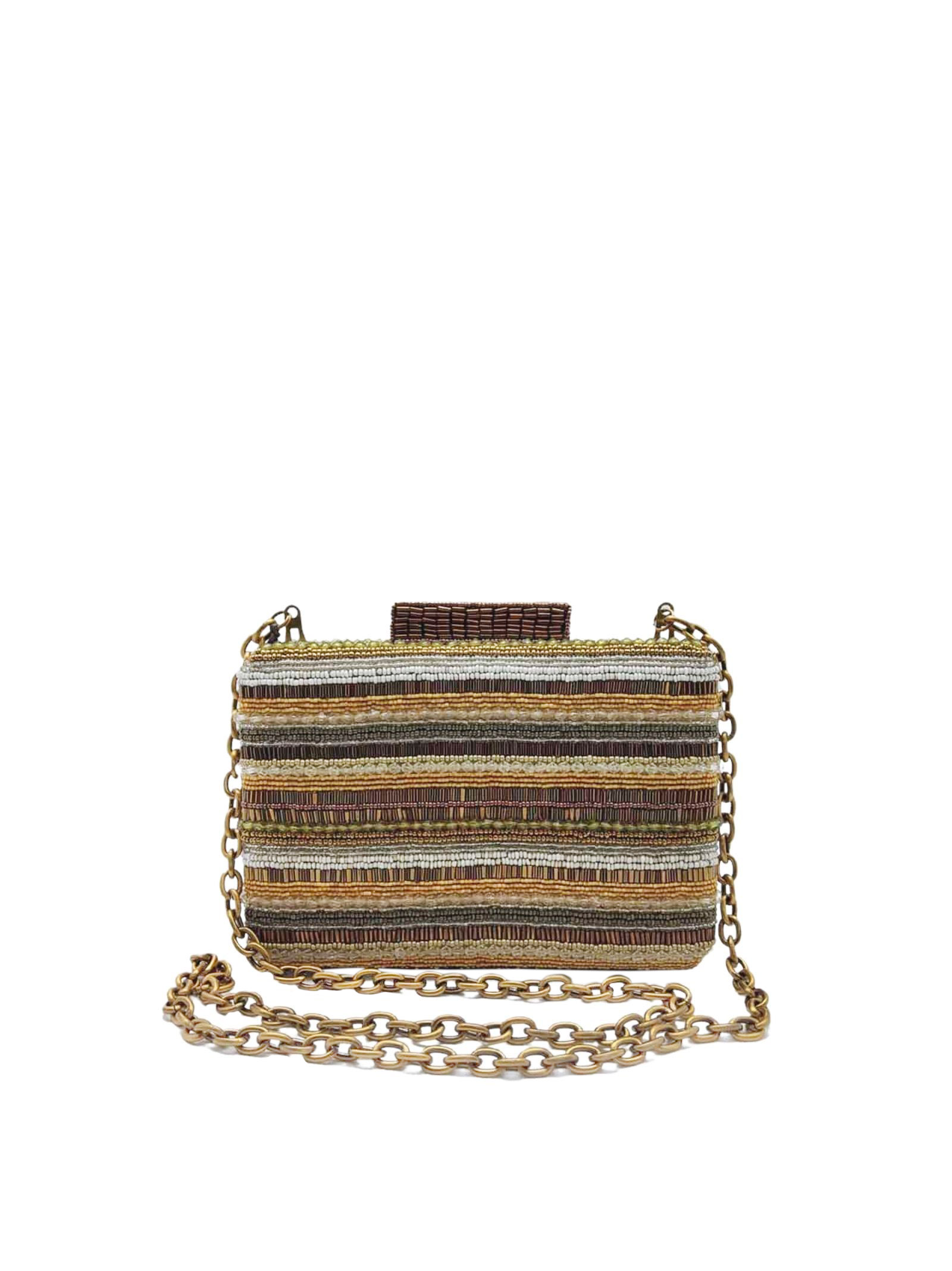 Woman Clutch Bag with Removable Chain Shoulder Strap Clutch Beads Stripes Natural Multicolor Maliparmi | Bags and backpacks | BP00079076611B99