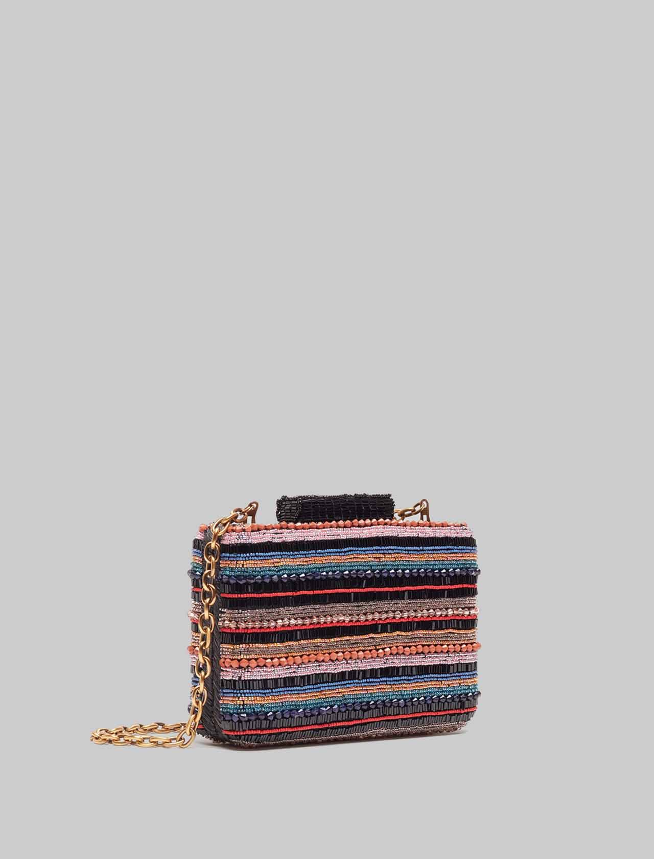 Borsa Donna Clutch con Tracolla a Catena Removibile Clutch Beads Stripes Nero Multicolore Maliparmi   Borse e zaini   BP00079076620B99