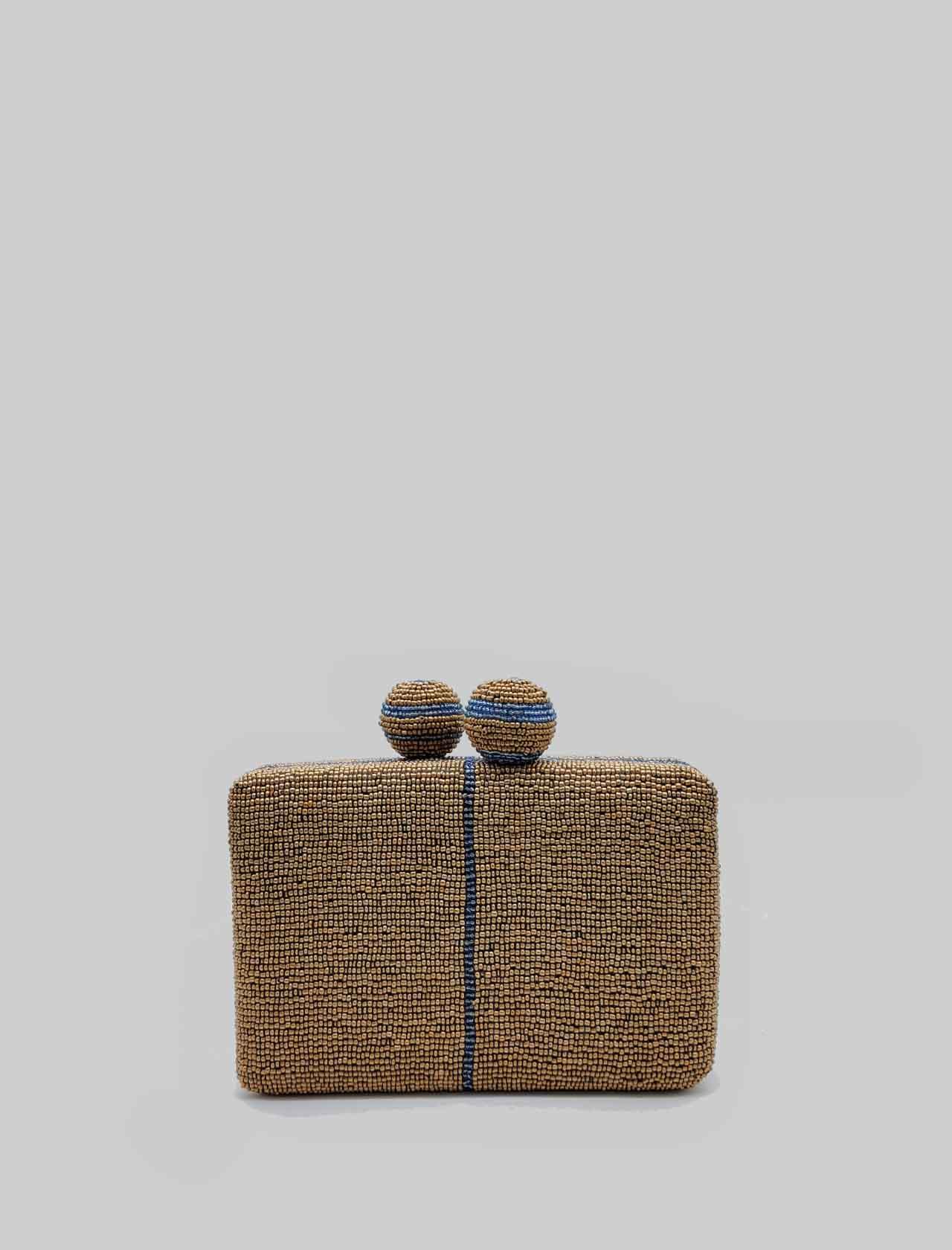 Borsa Donna Clutch Cuts & Beads a Fantasia Bronzo e Azzurro con Tracolla in Catena Removibile Oro Maliparmi | Borse e zaini | BP00079106992B81