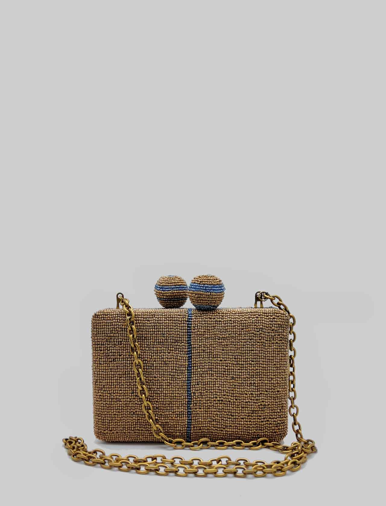 Woman Clutch Cuts & Beads Bag in Bronze and Light Blue Pattern with Removable Gold Chain Shoulder Strap Maliparmi   Bags and backpacks   BP00079106992B81