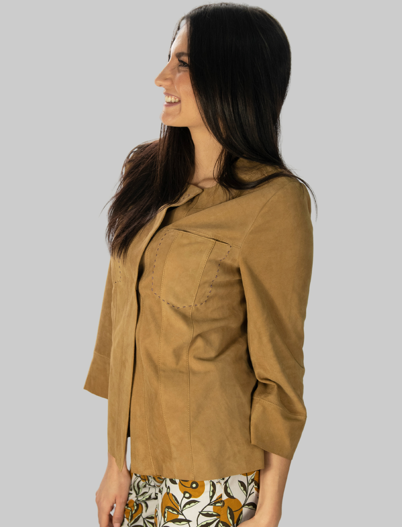 Women's Clothing Soft Suede Jacket in Beige Suede Maliparmi |  | JC01210145012021