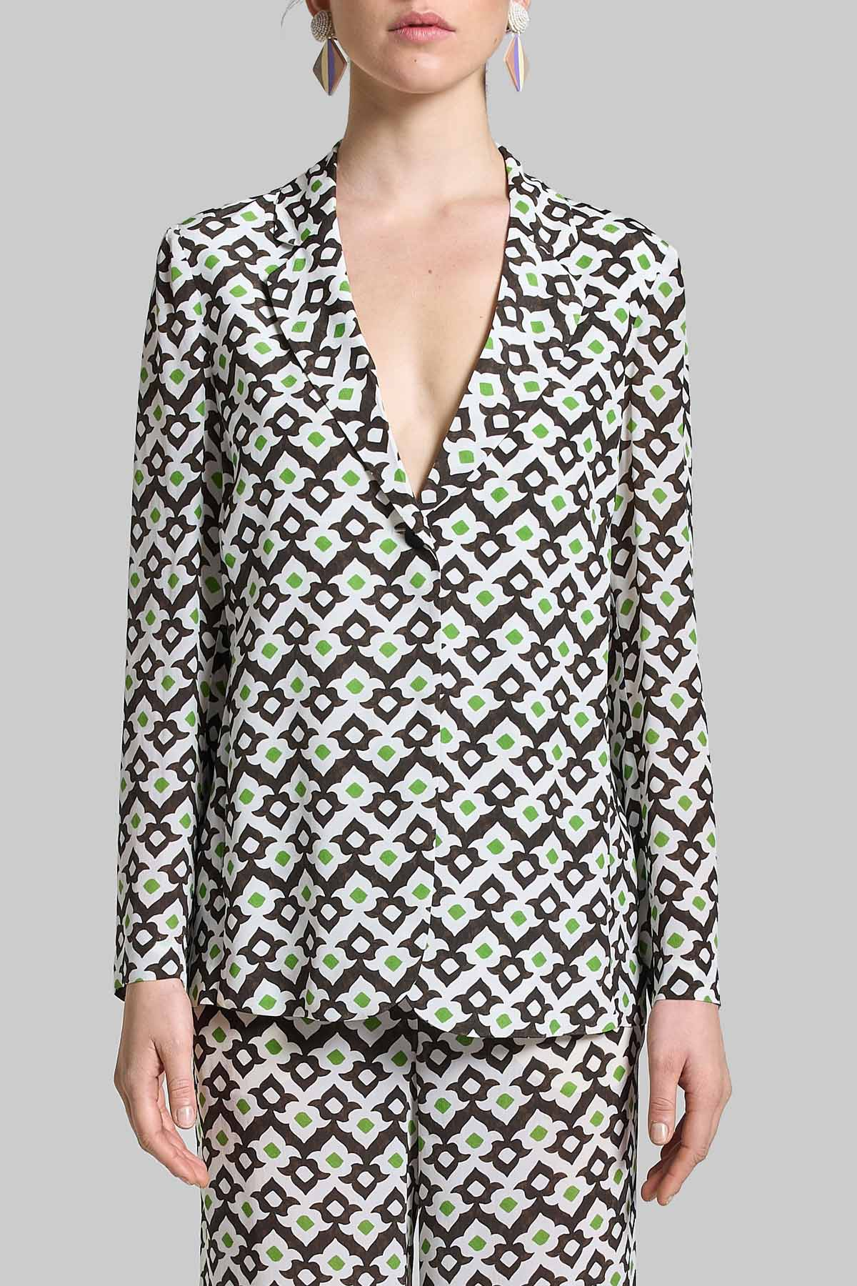 Women's Clothing Vis Ceres Diamond White and Black Single-Breasted One Button Jacket Maliparmi |  | JD625550552A1050