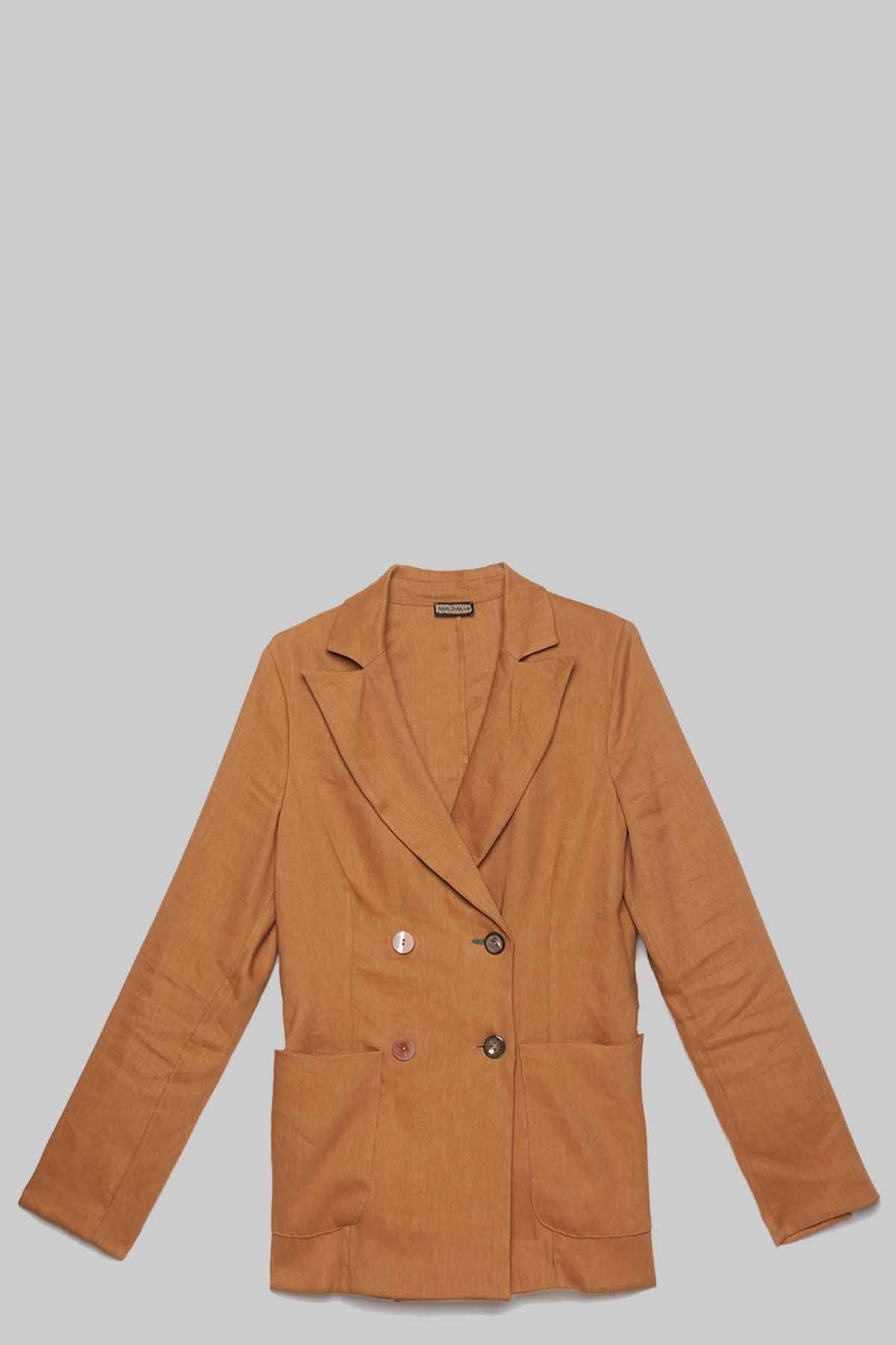 Abbigliamento Donna Giacca Doppiopetto Diagonal Linen in Lino Ocra Maliparmi | Giacche e giubbini | JD63774007812021