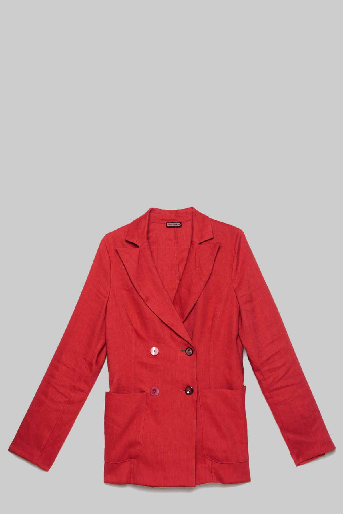 Women's Clothing Double-Breasted Diagonal Linen Jacket in Red Linen Maliparmi |  | JD63774007830032