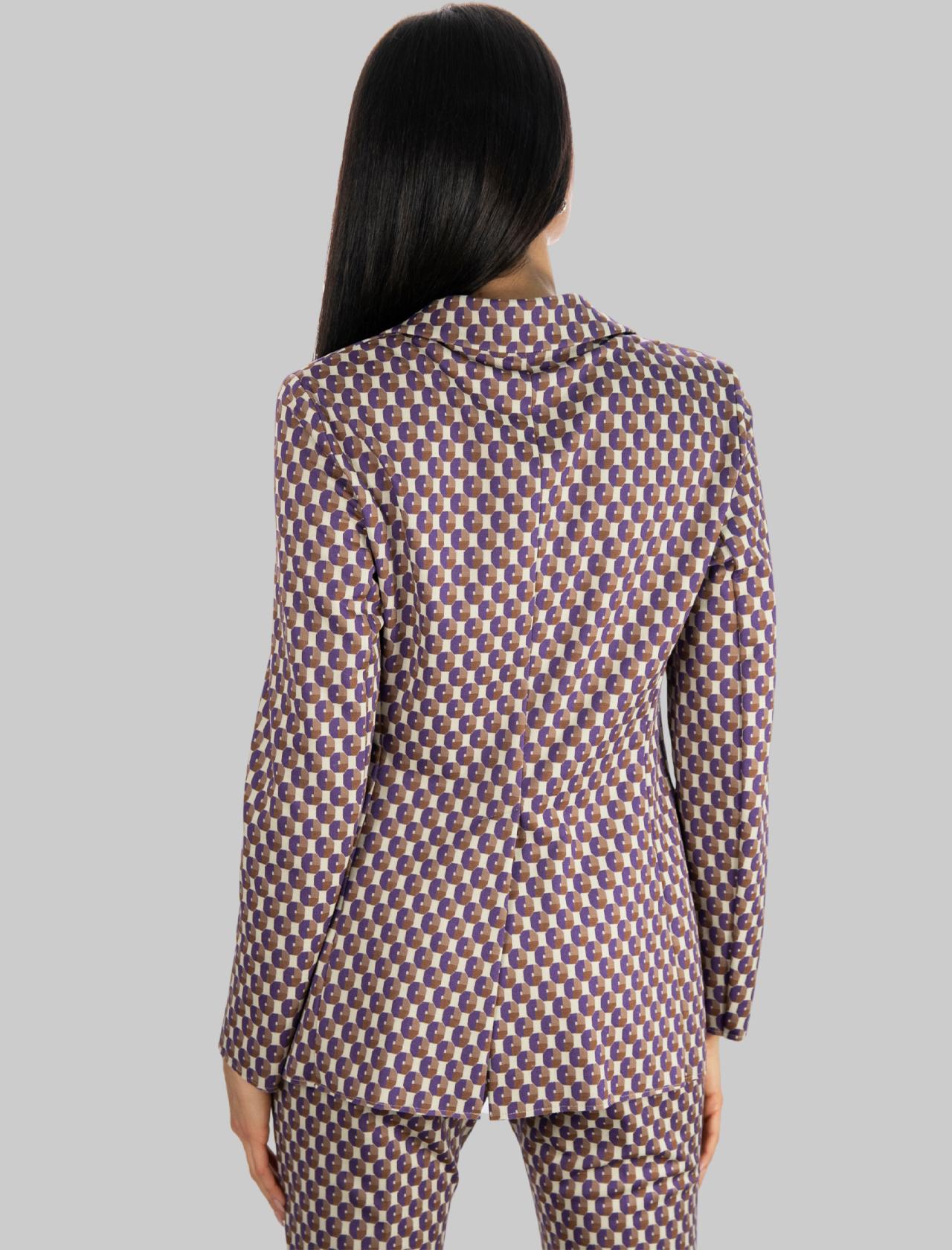 Abbigliamento Donna Giacca Geometric Jacquard a Due Bottoni in Beige e Viola Maliparmi | Giacche e giubbini | JD638060048B1236