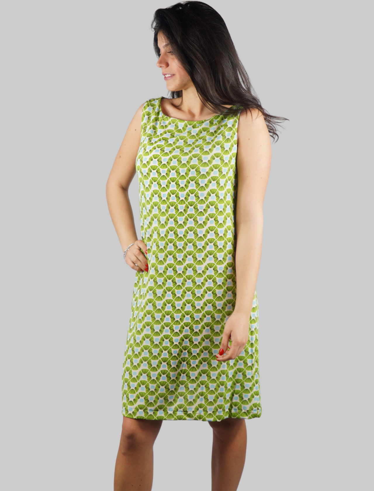 Women's Clothing Jersey Happy Frame Dress with Armholes in Green Fantasy Maliparmi |  | JF633370493C6015