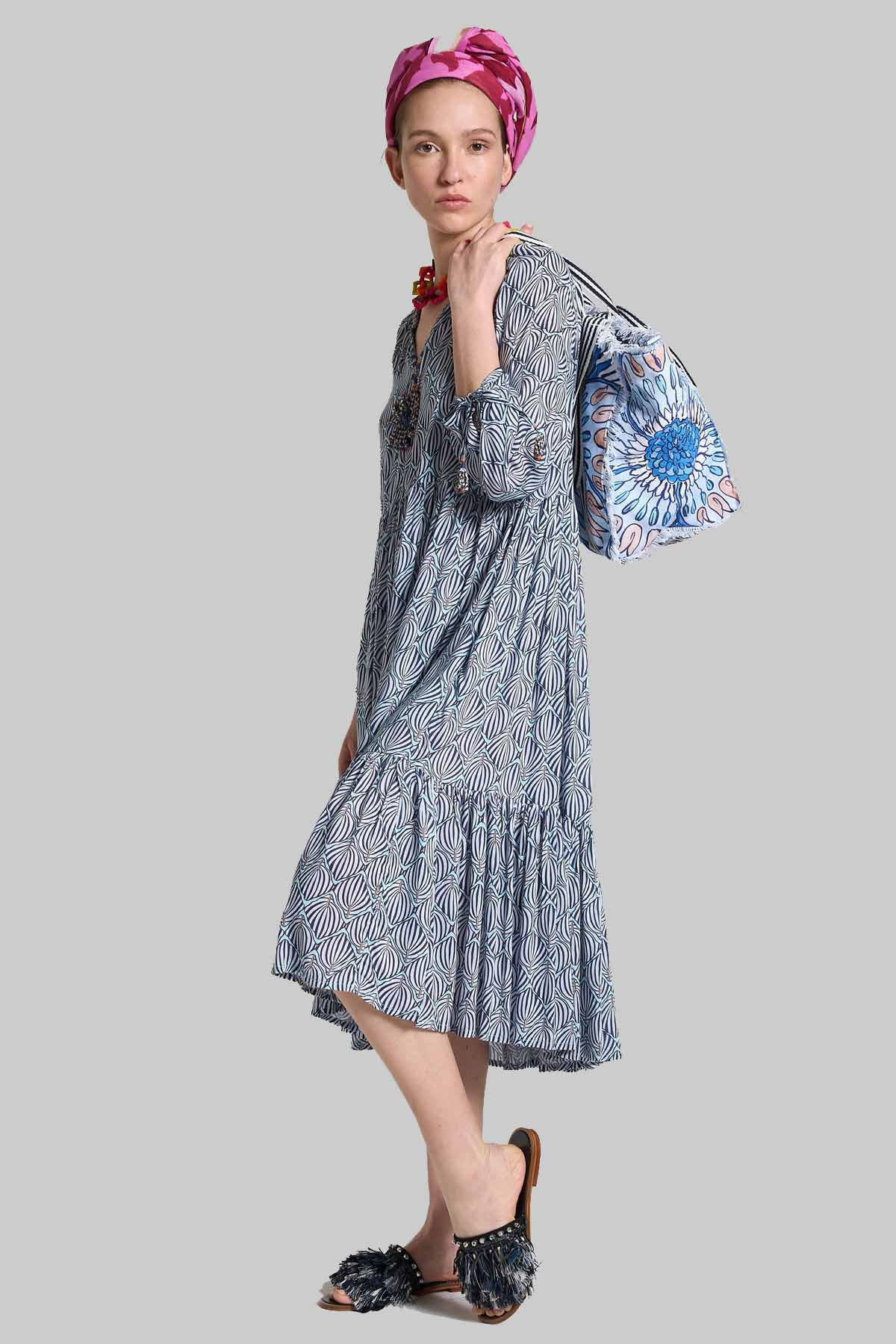 Women's Clothing Geometric Palms Dress in Light Blue Pattern Maliparmi |  | JF642050551C8047